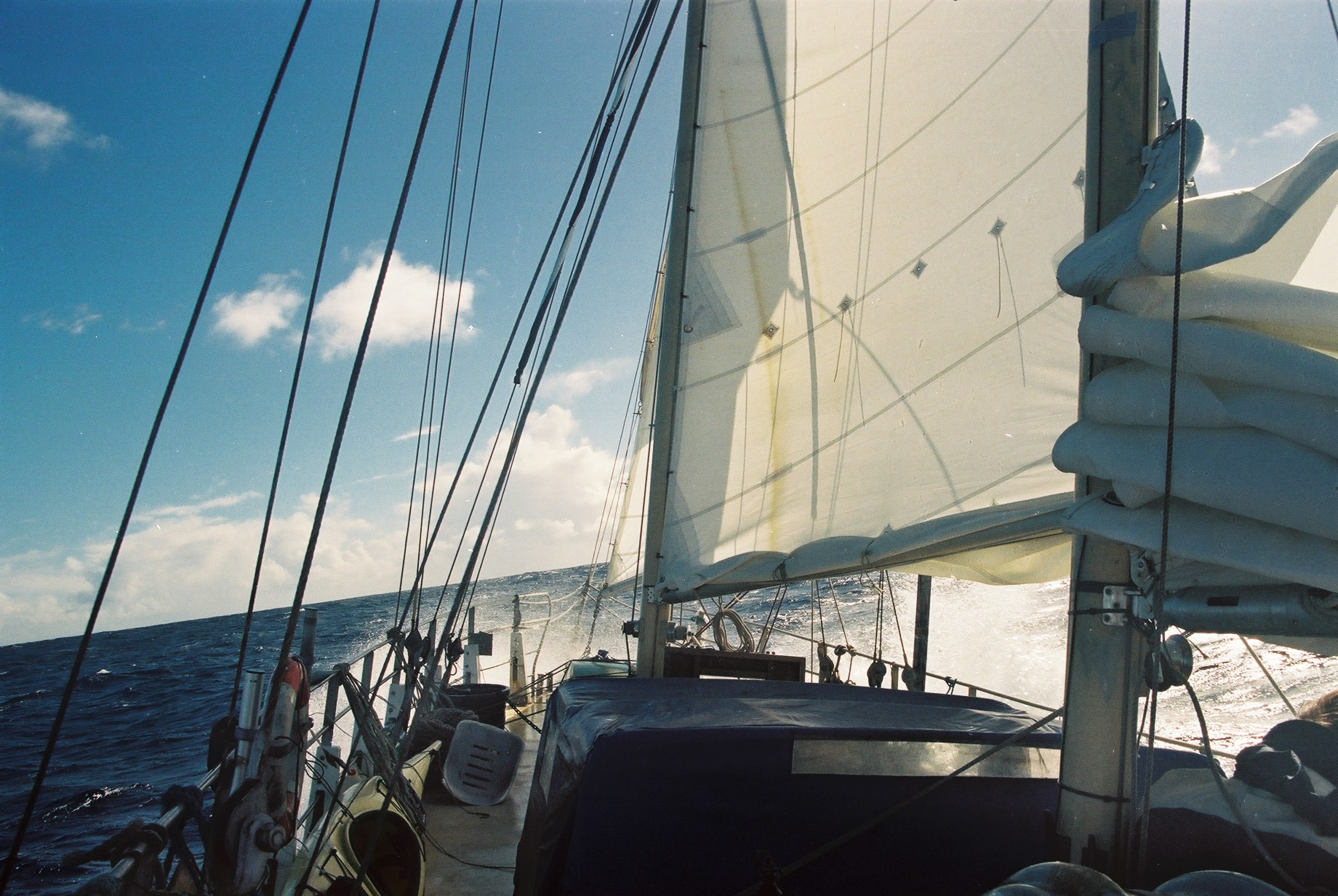 My boat, Salka Valka, in the middle of the Atlantic