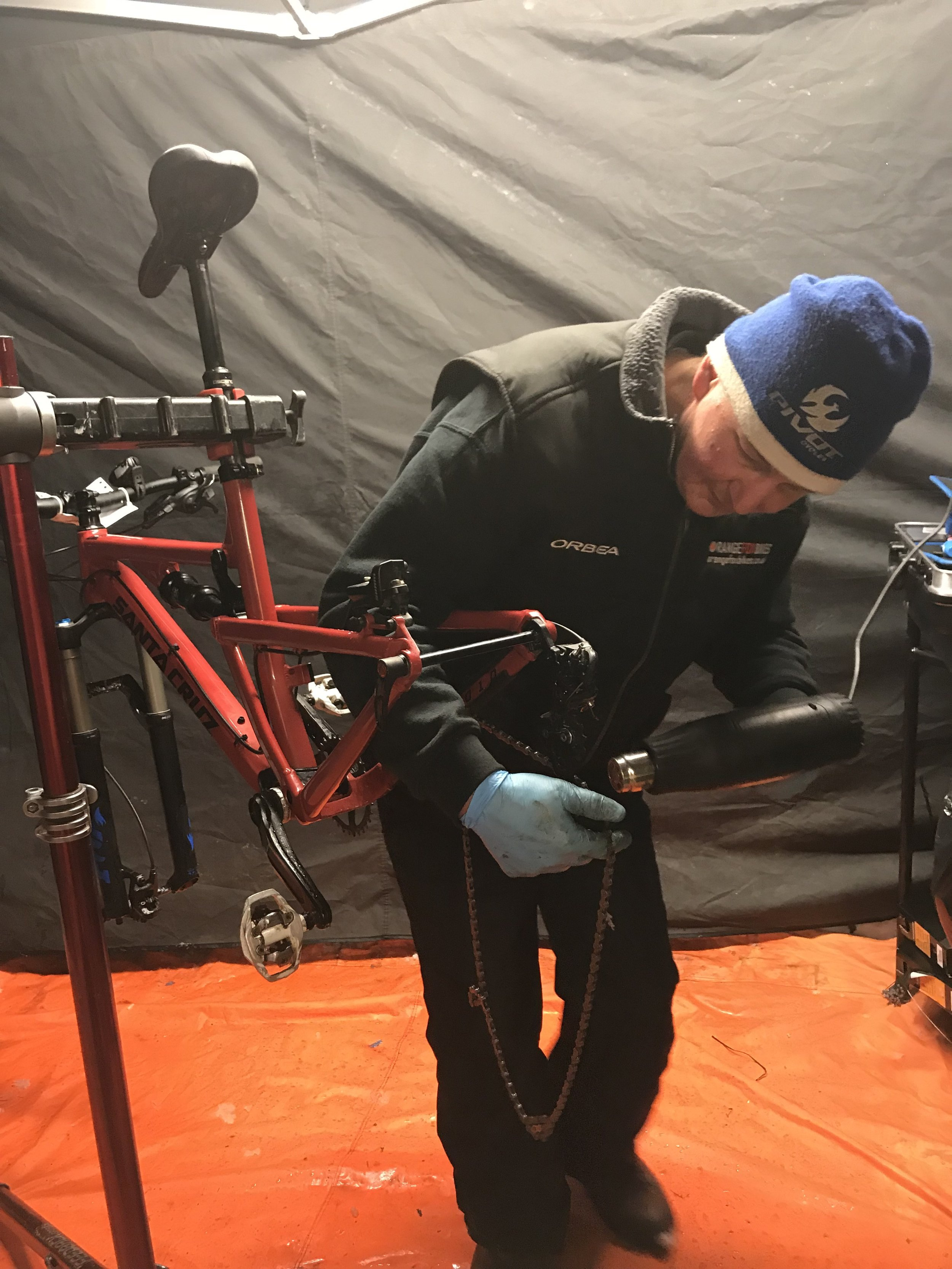 "Mark Goodwill from Orange Fox Bikes with his hairdryer   ""As a result of this weekend I've learned that dropper seat posts don't perform that well in harsh conditions, unlike those four girls!""  Mark"