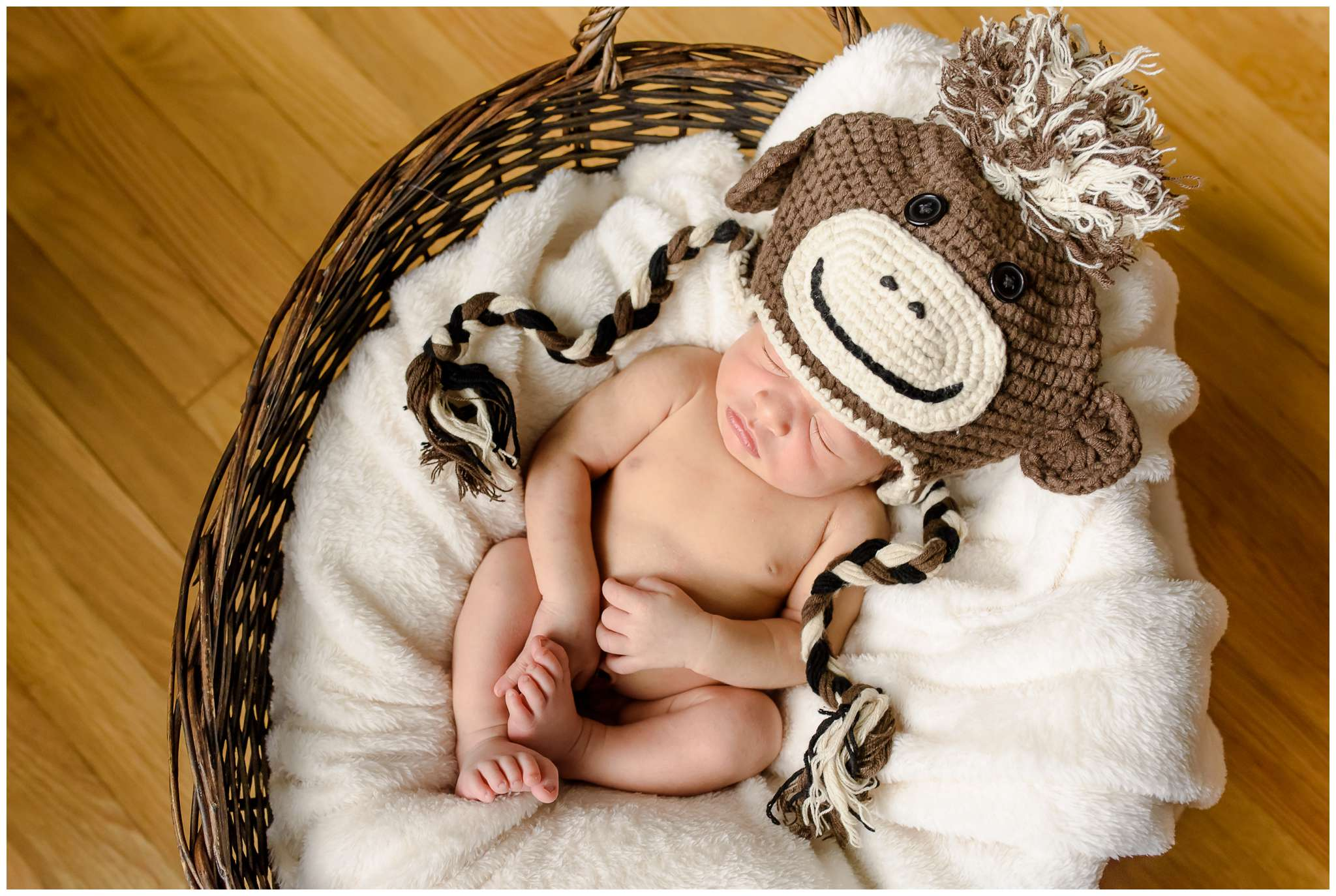 Yes, the monkey hat was a little big... but still adorable on him lol!