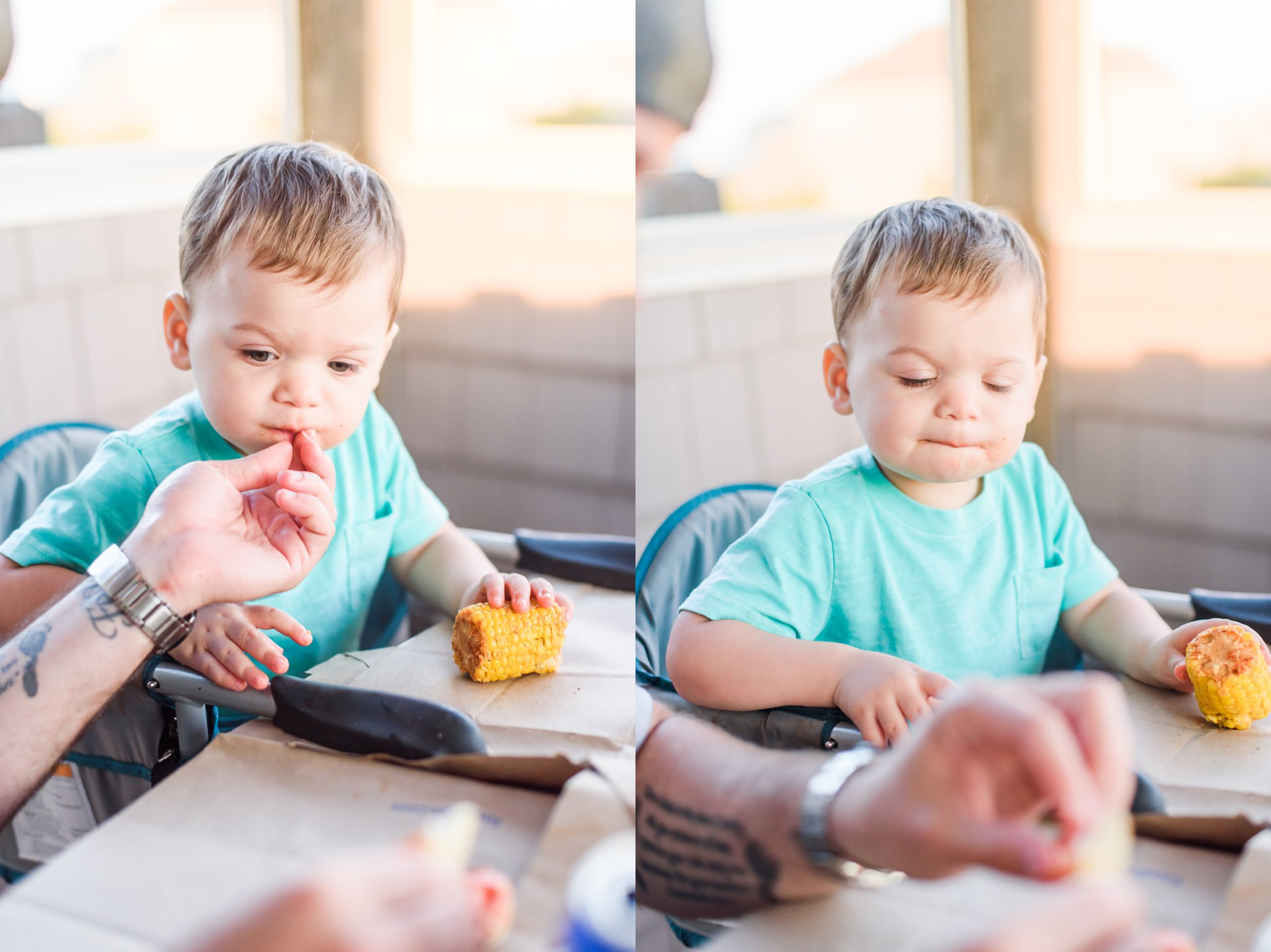 Liam's first Shrimp boil! Daddy just gave him some crab in these pictures.