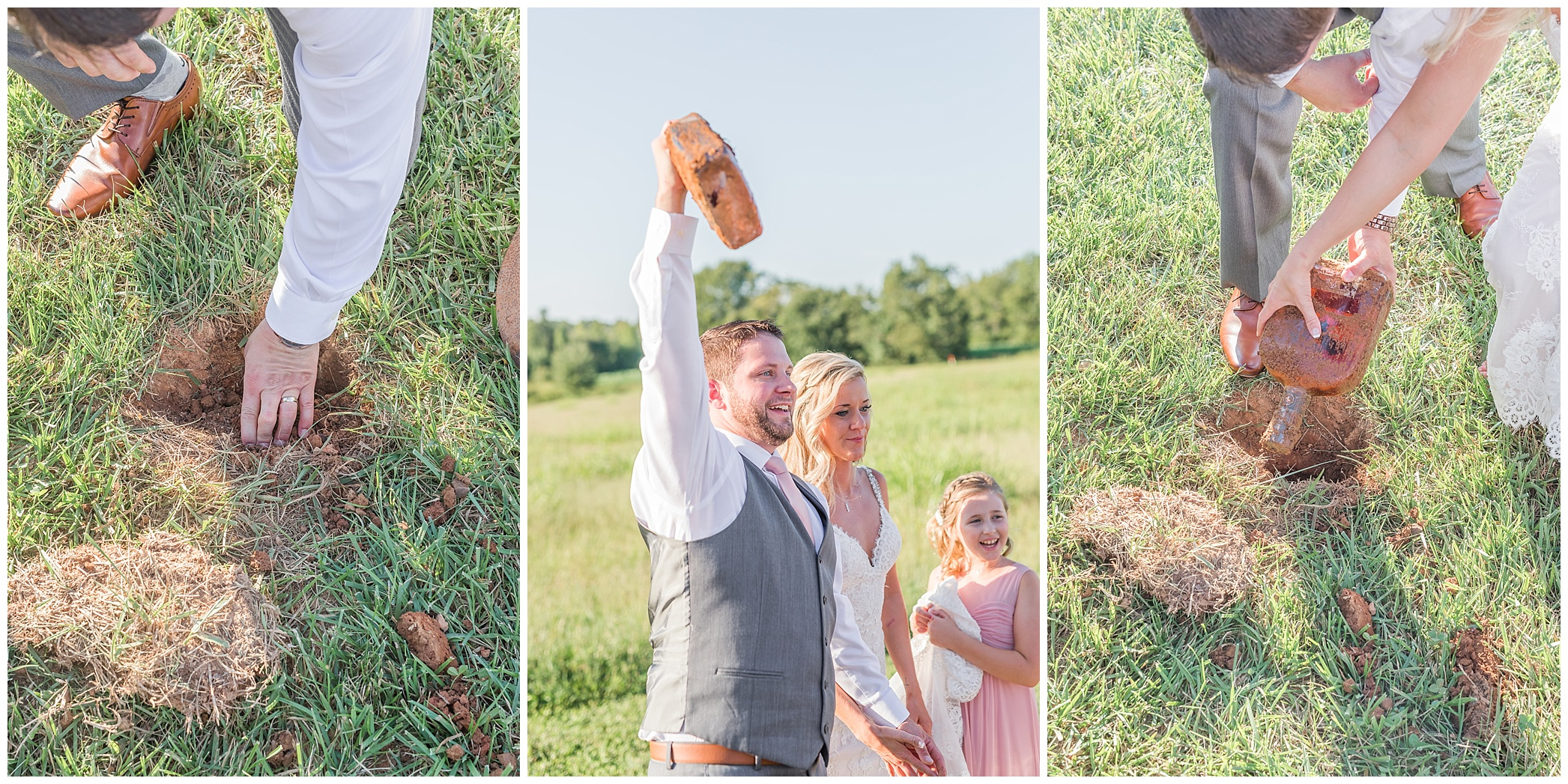 Derek and Kelsey took part of the old tradition of burying the bourbon for your wedding day. It is said if you bury a bottle of bourbon before your wedding day at the venue it will not rain that day. Well it was a GORGEOUS day that is for sure!