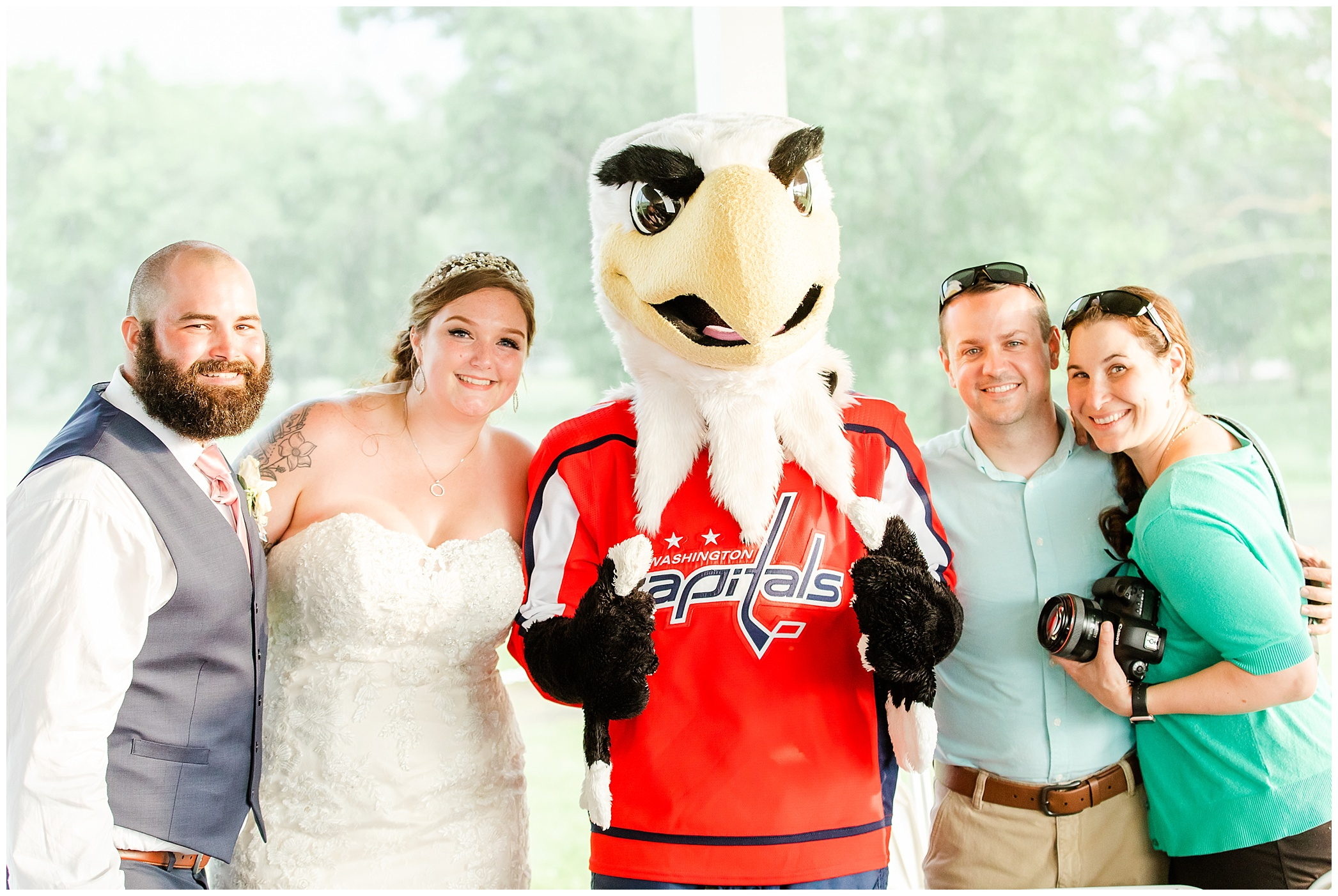 Hunter is a huge Capitals fan too! We had to get a group picture with Slapshot!