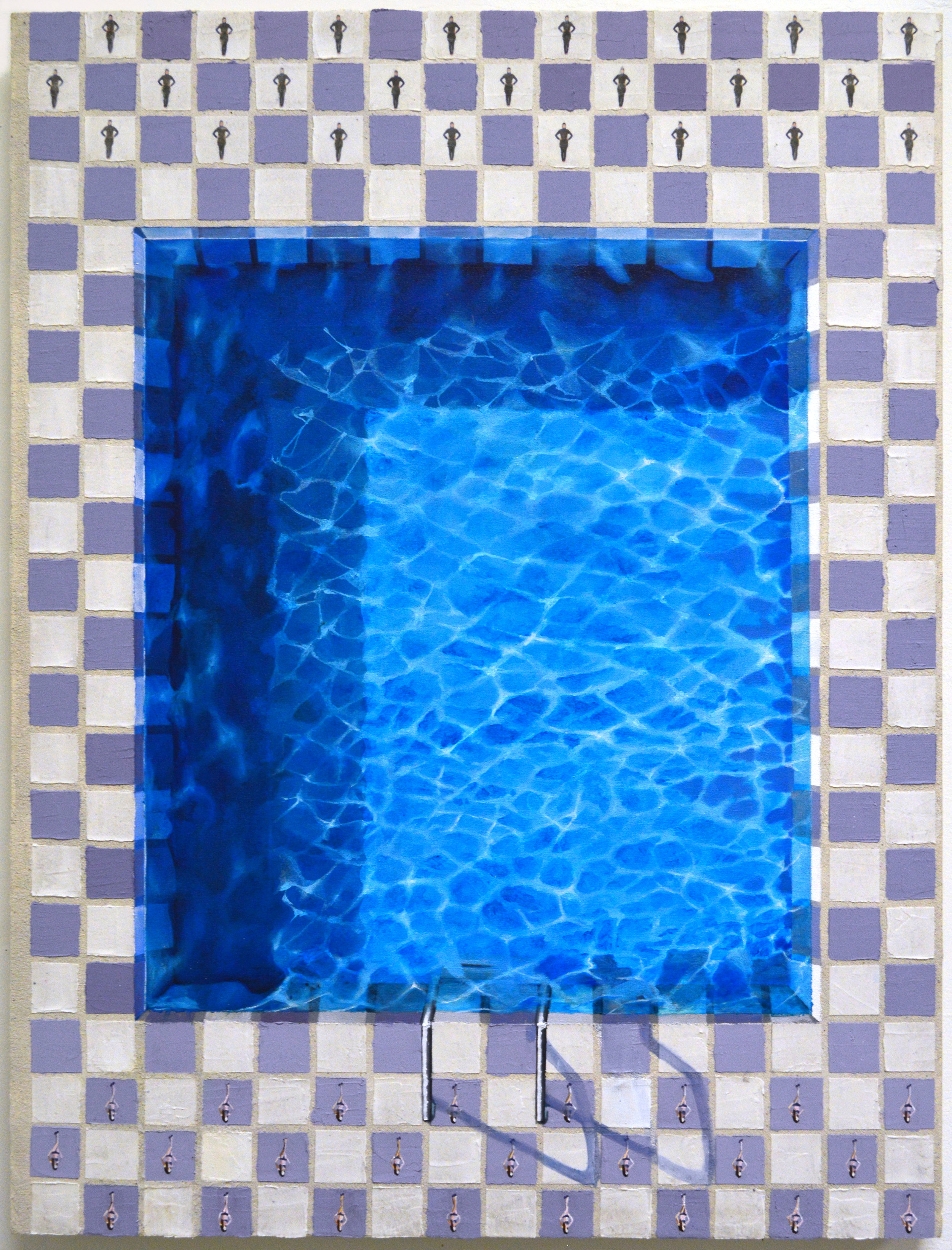 Pool Checkers  oil, acrylic, plaster, sand, and cement on canvas  38IN X 29IN