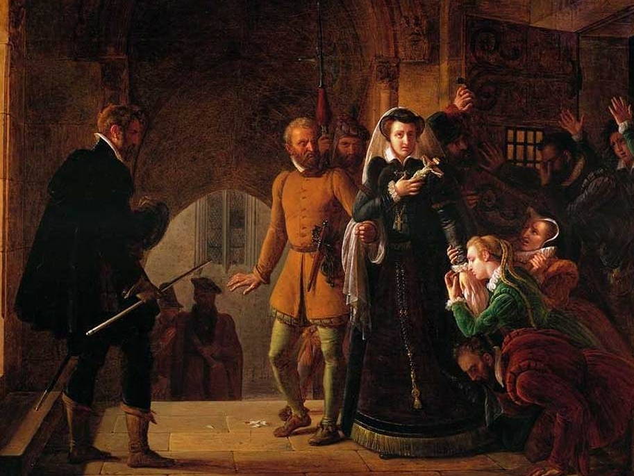 Since Mary Queen of Scots was entitled to the throne of England, Queen Elizabeth locked her in the Tower of London then she executed her in 1587. Her son was King James I of Scotland and England.