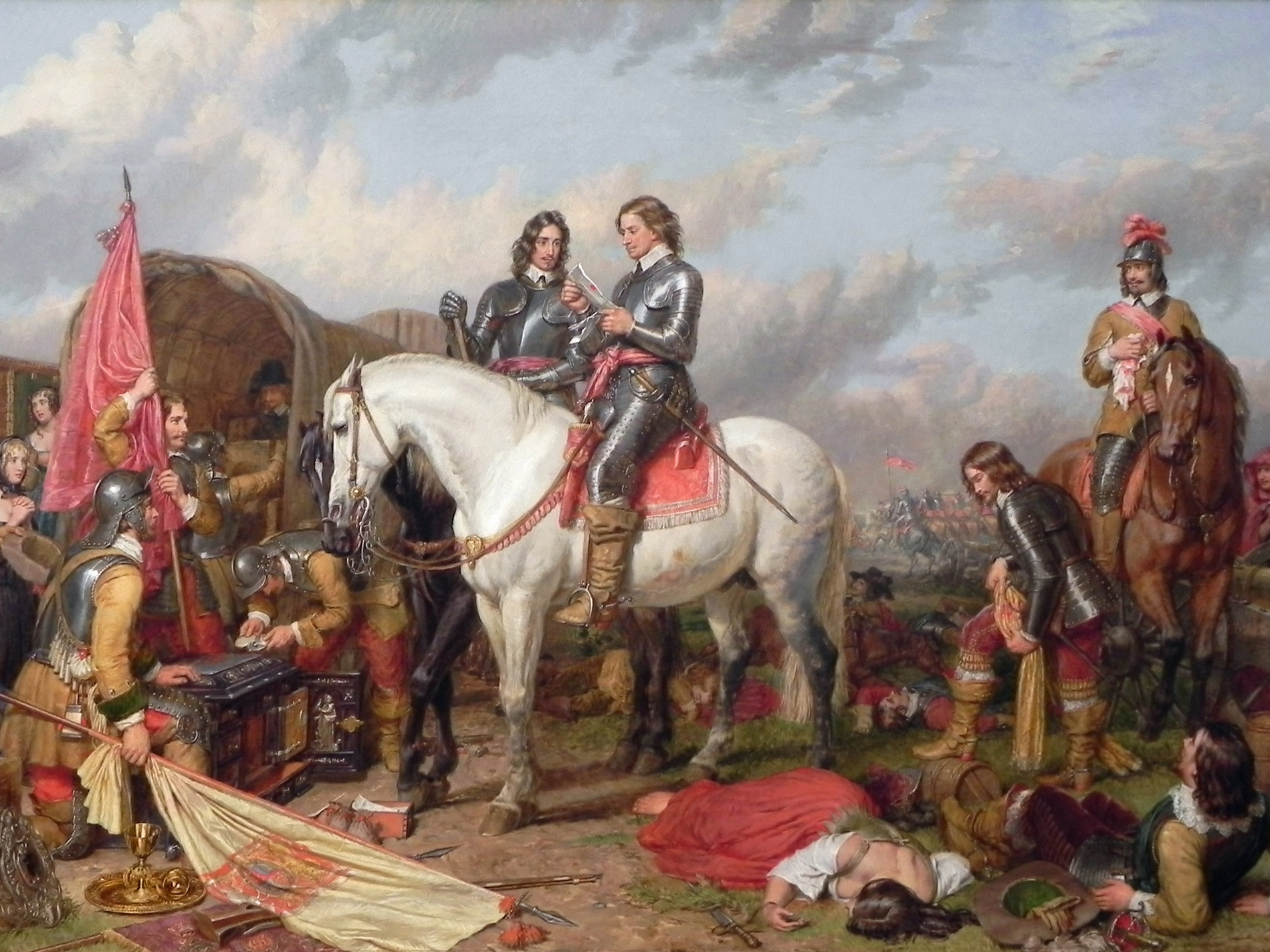 Charles I disbanded Parliament, enforced Anglican worship then he was executed by Lord Cromwell's New Model Army. Parliament restored the crown in 1660 to Charles II. 2/5 of London died from plague, then London burned when fires raged.
