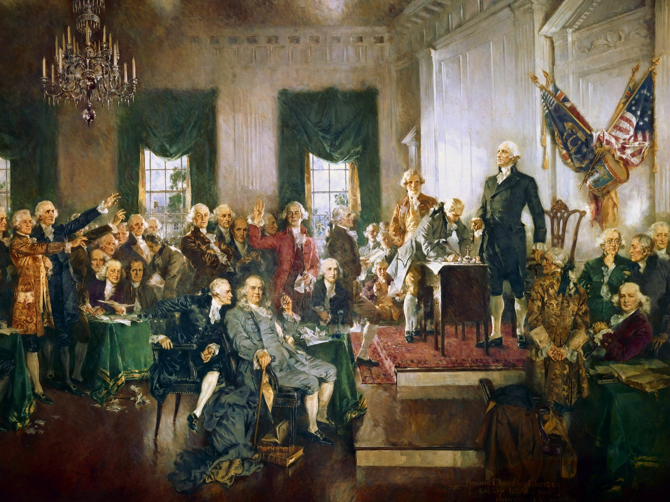 Independent delegates met in Philadelphia to write the Constitution of the new United States. The Bill of Rights amended it to protect the rights of the citizens. States ratified it into law in 1788. They inaugurated Washington, the first US President. He appointed leaders of government and stepped down after eight.