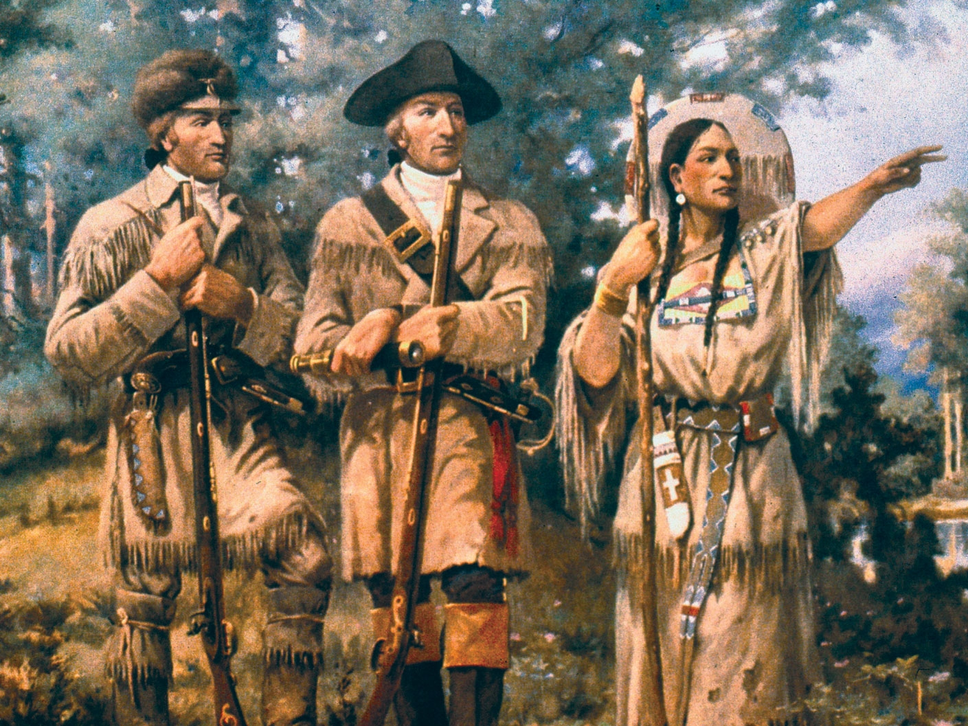 In 1804, President Jefferson commissioned Lewis and Clark. They sailed the Missouri, mapping their journey as they explored the west. Sacagawea translated. Then settlers followed them later. Tecumseh, Shawnee chief, fought the land treaty in Indiana.