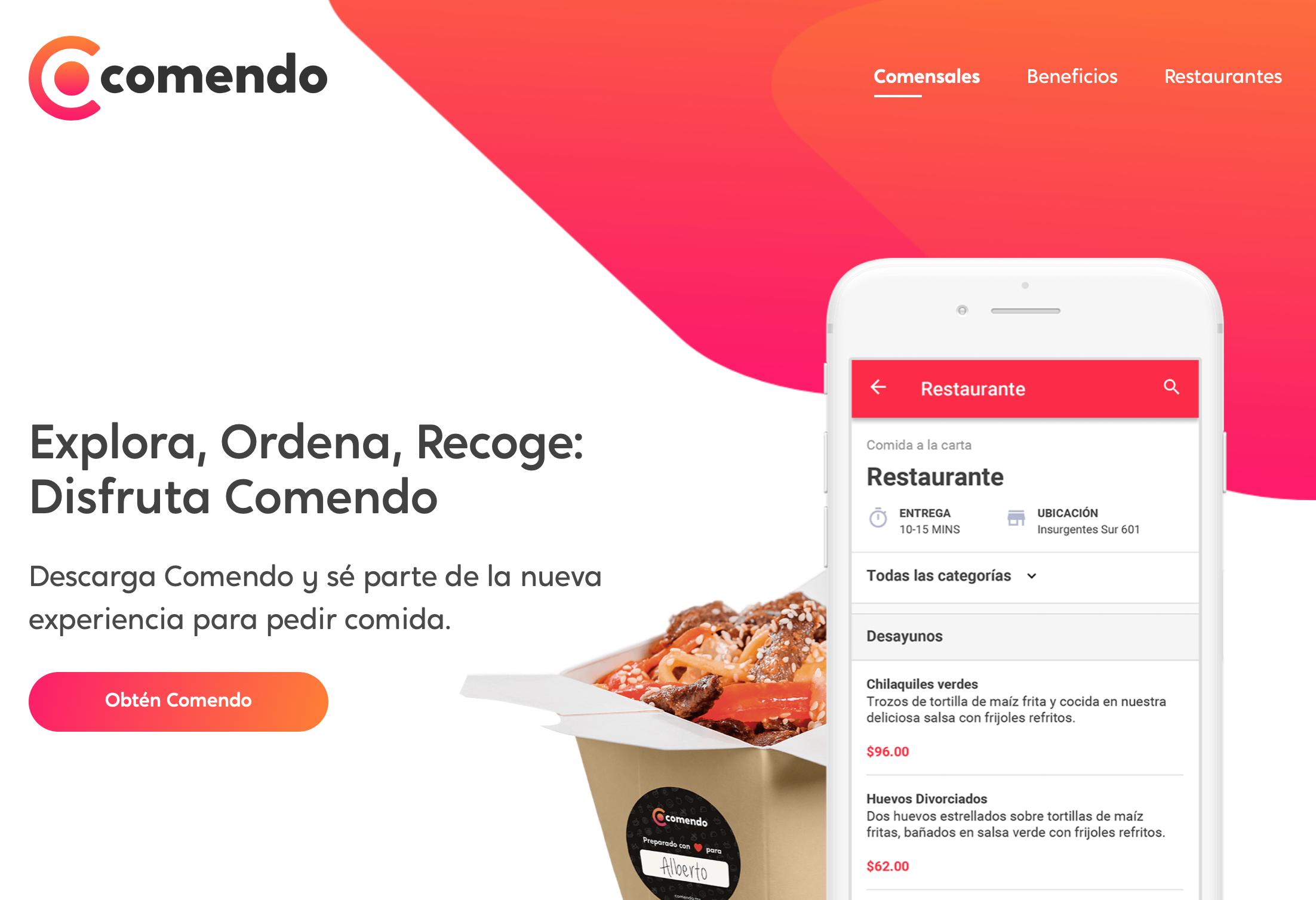 Comendo: Creación de manual de estilo escrito, línea de comunicación escrita y copies para sitio web y apps.