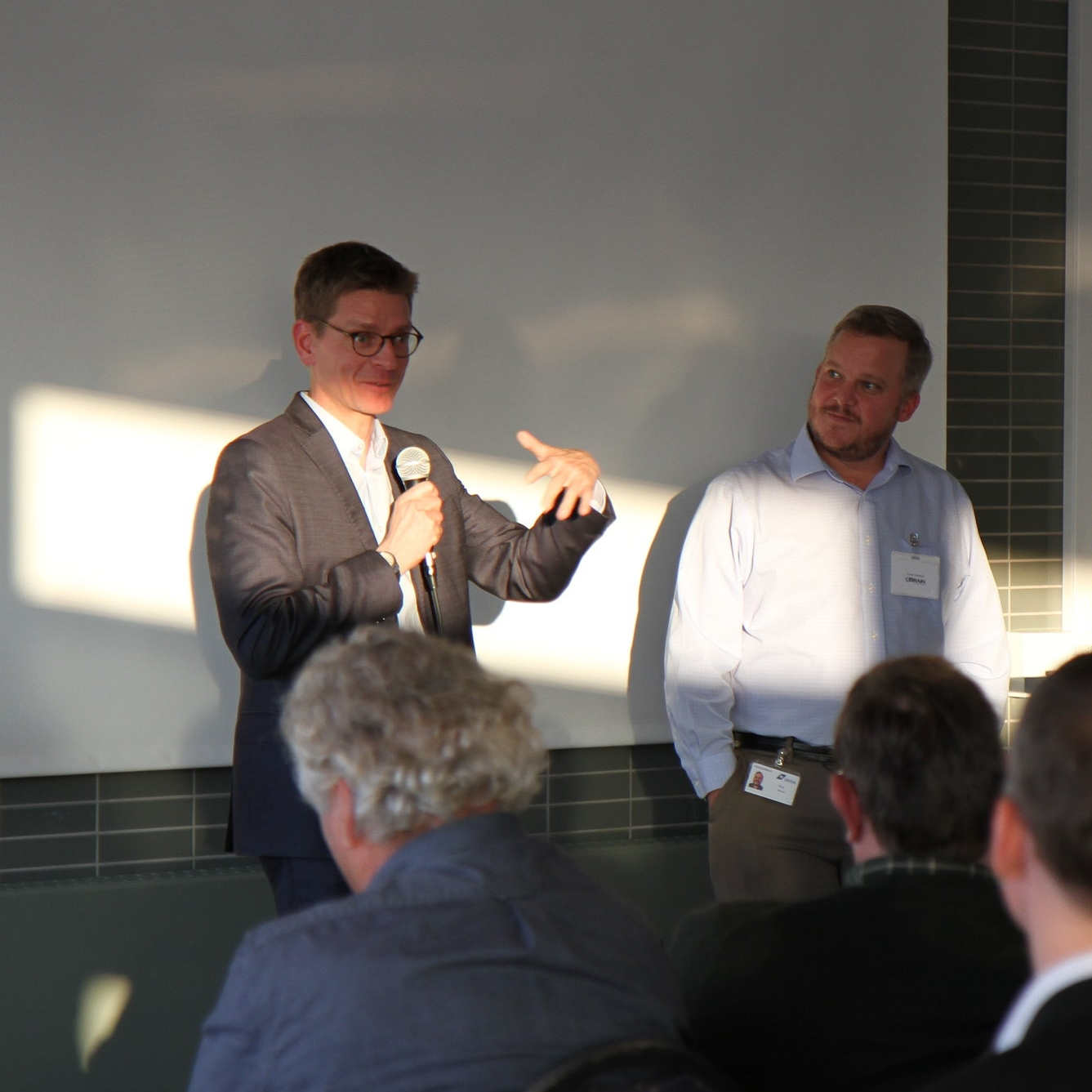 Lars Frelle-Petersen, CEO of The Agency of Digitisation (left) and Greg Godbout, CEO and Co-Founder cBrain North America.
