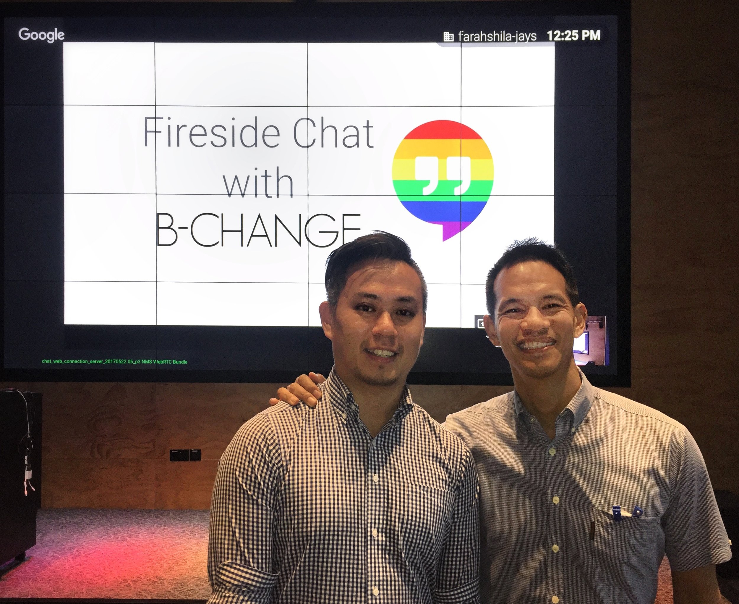 B-Change's founder Laurindo Garcia and impact research lead Bryan Choong together at Google Asia-Pacific headquarters in Singapore after a 'fireside' talking about the evolution of Be.