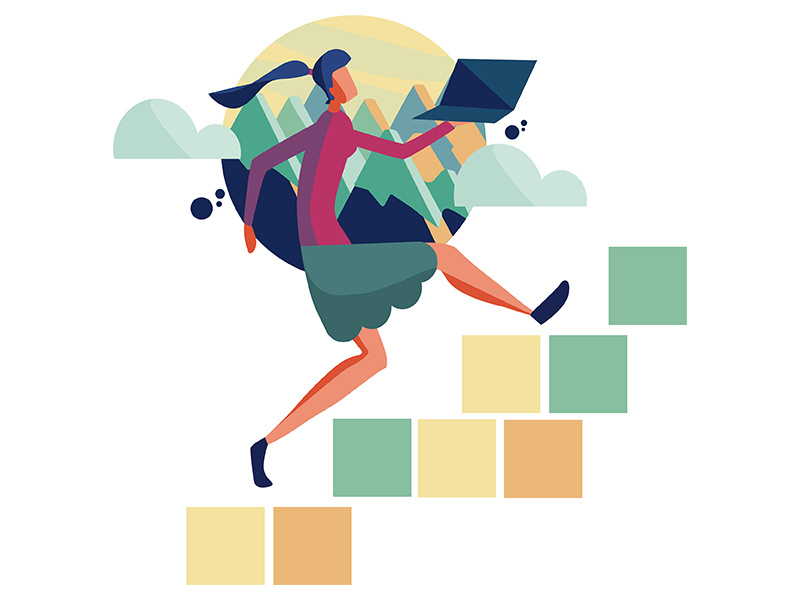 Image description: A woman rushes up a flight of steps with a laptop in hand. Photo source:  Pavan Teja/Dribbble
