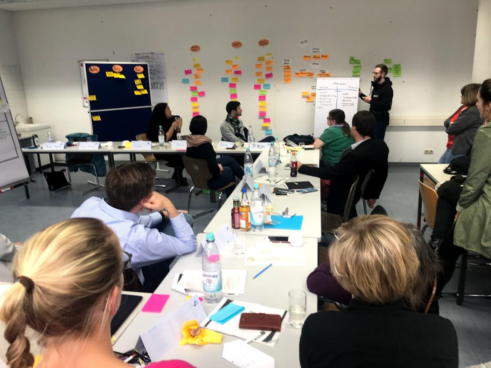 Im Workshop werden die schnellen Iterationsschleifen eines SCRUM-Prozesses in der Arbeit in Gruppen schnell erlebbar gemacht.