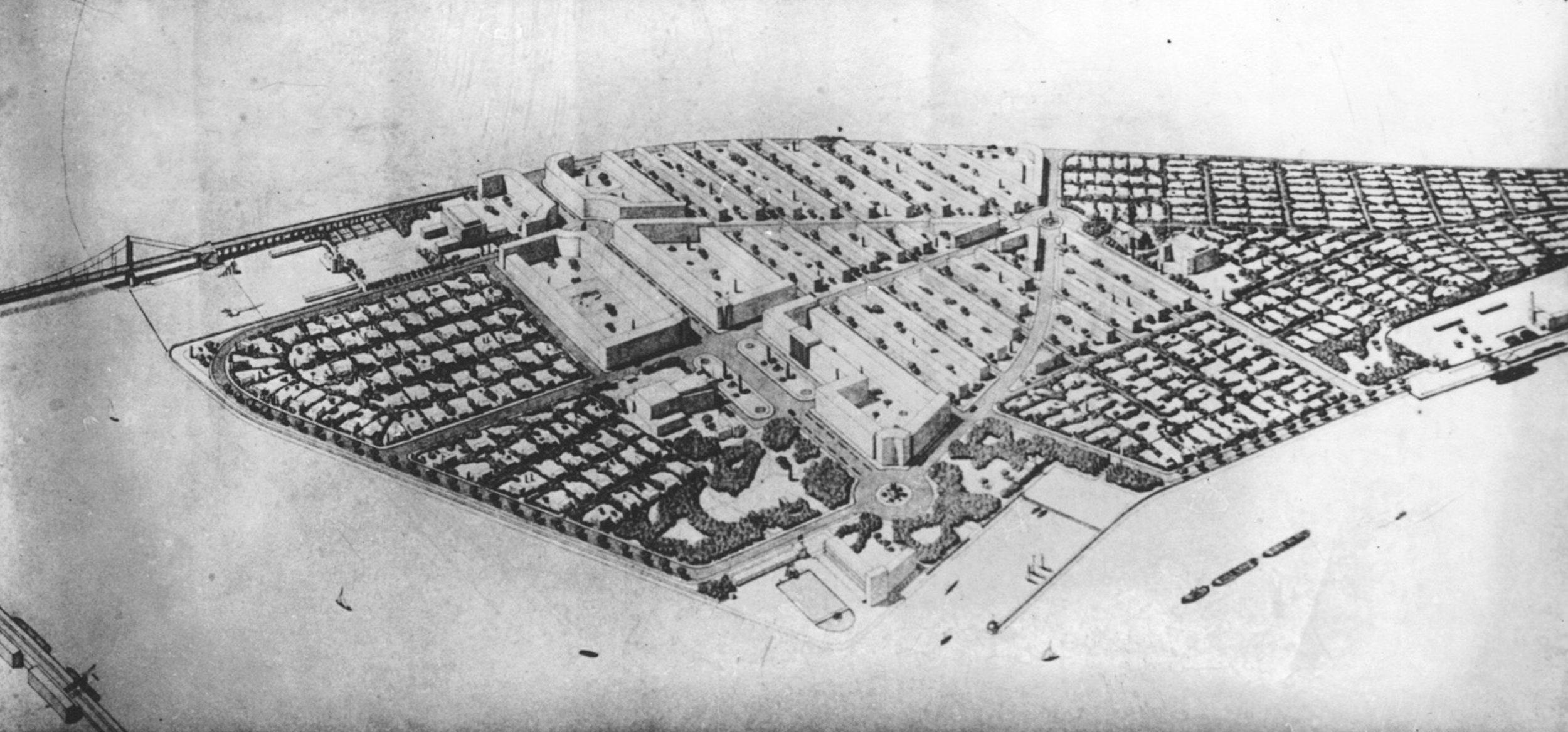 Højgaard&Schultz (Kopenhagen), Plan naselja sa desne strane Zemunskog mosta, 1938.