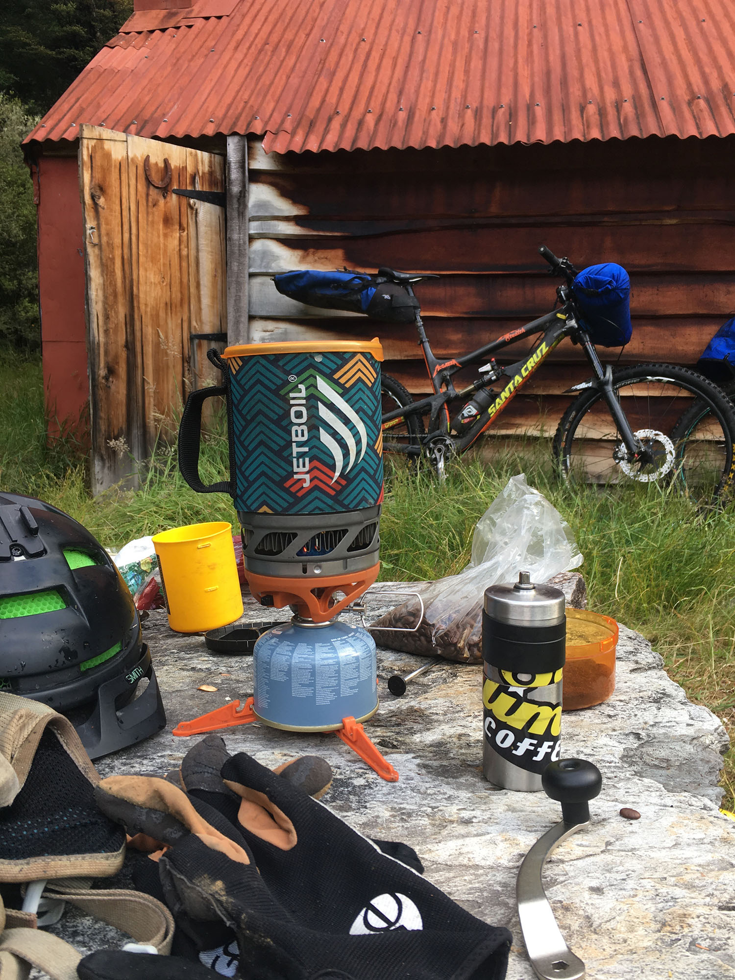 Jetboil MicroMo  on task,  Sublime Brew  in the Sun