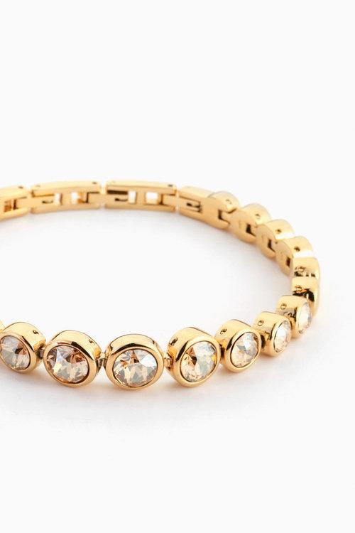 Aurora Gold Tone Tennis Bracelet With Swarovski Crystals