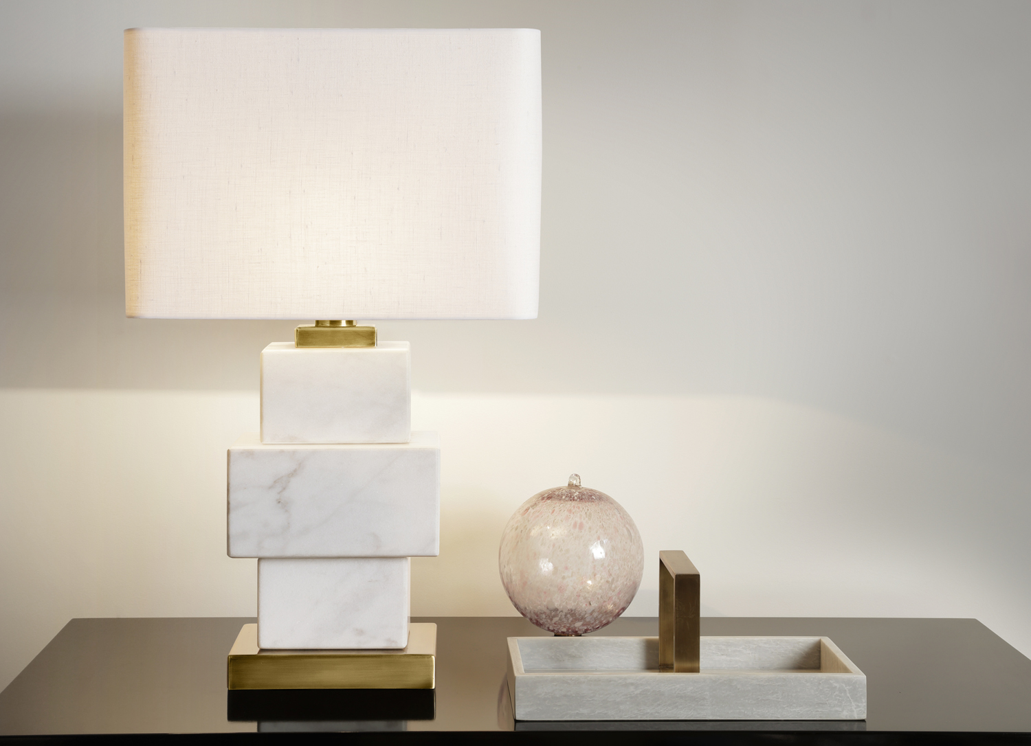 12_2017_JPM_HOME-JPM_Lighting_Trays Triple White Dionysos Lamp with gold details Large White Marble Tray with gold handle decorated.jpg