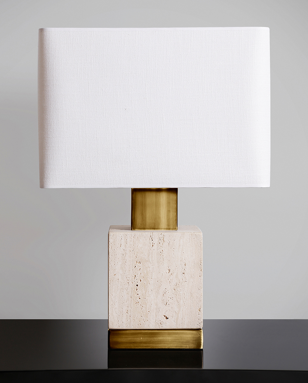 Travertine handmade lamp w/ bronze detail