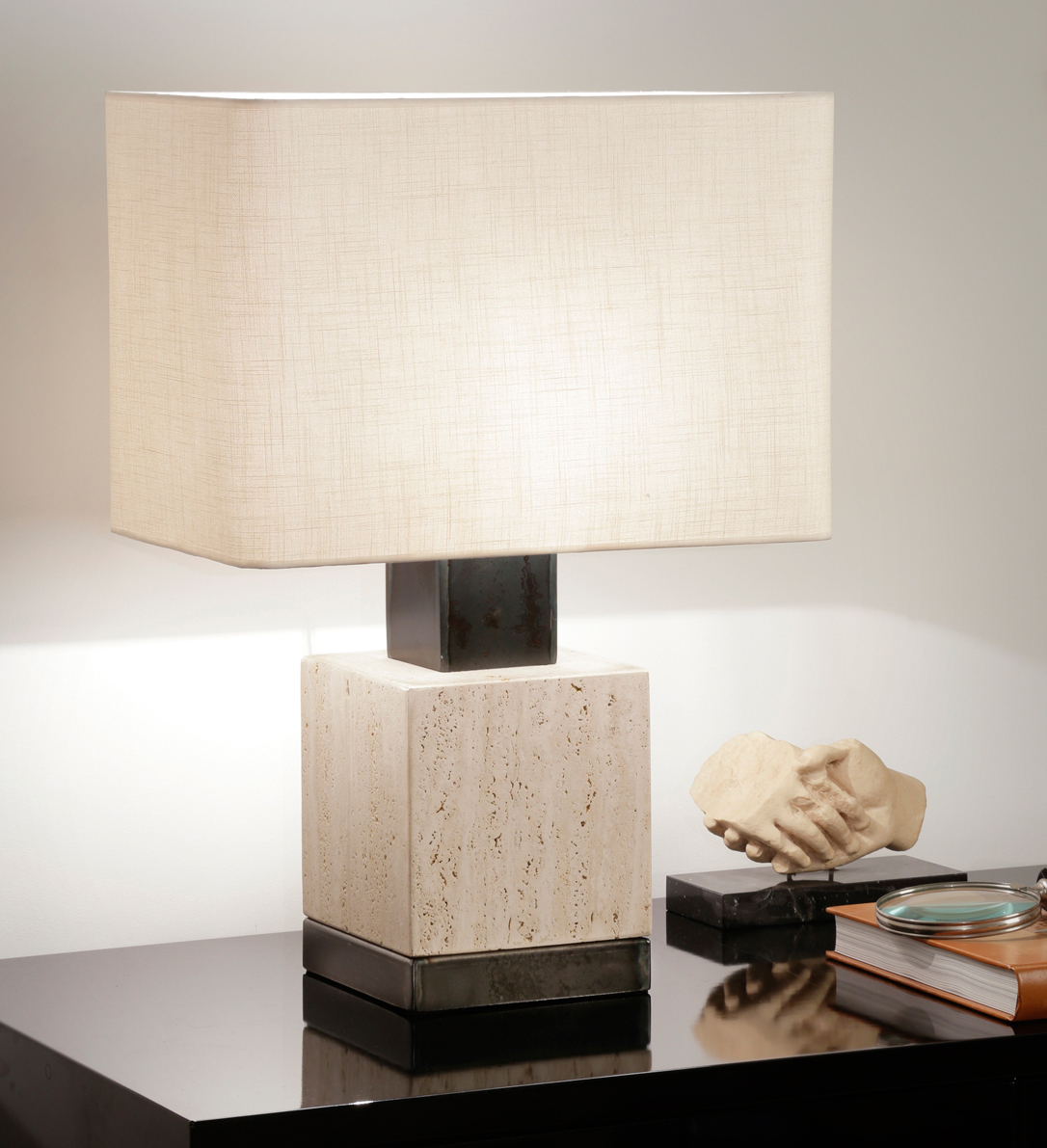 Travertine handmade lamp w/ oxidized metal detail