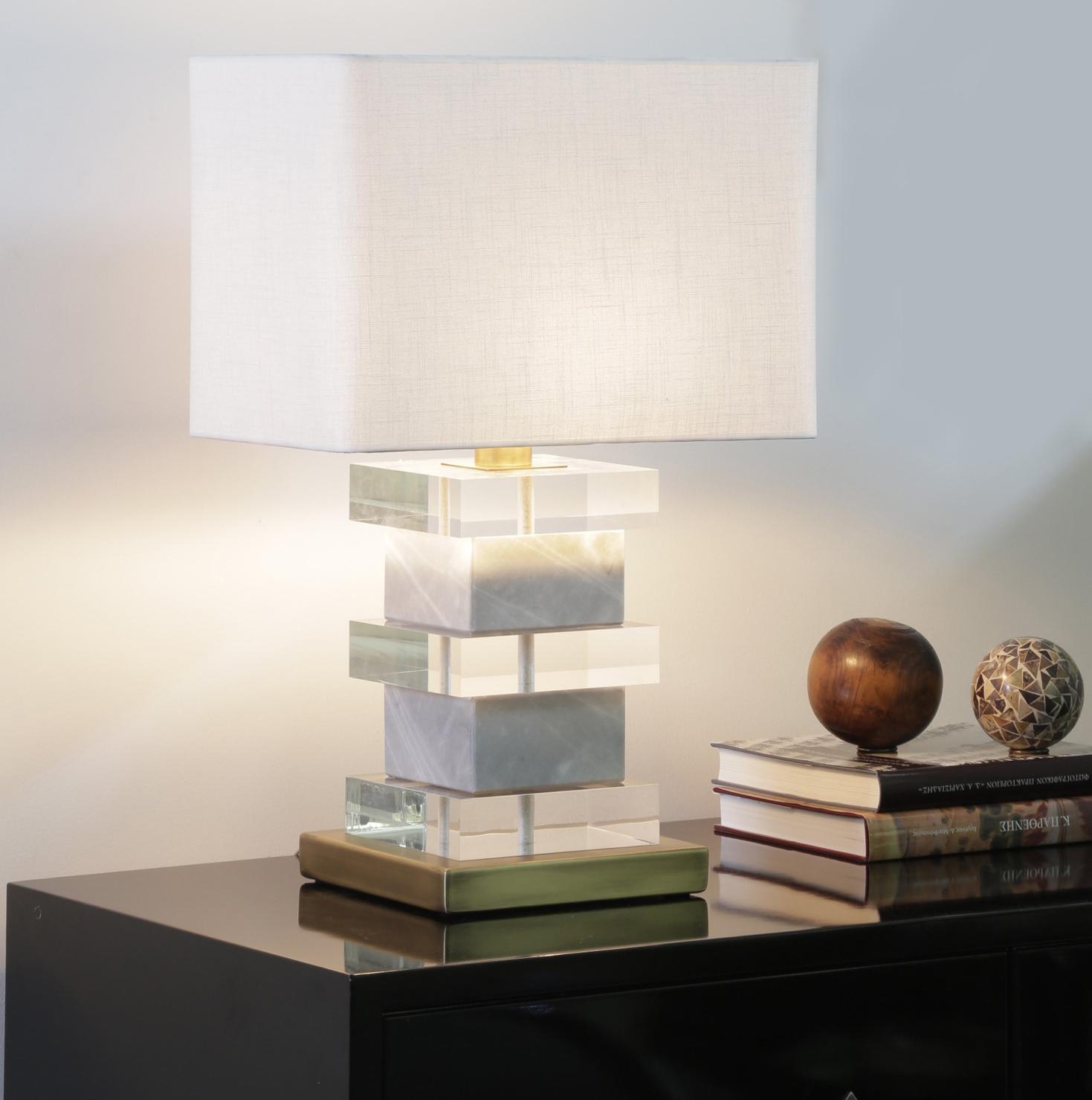 Luxury blocked plexiglass & marble handmade lamp with bronze details