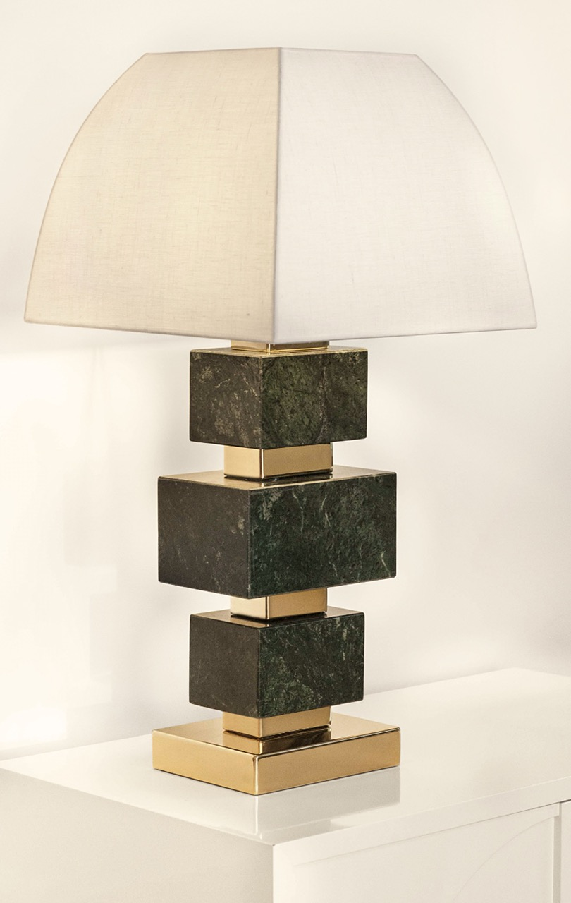 Dimensions*  43 cm. (18 in.) H    25 x 25 cm. (10 x 10) Base   Lampshade H 37 cm, L 42 cm, W 42 cm (14 x 16 x 16 in.)    Materials**  Marble and Metal Parts