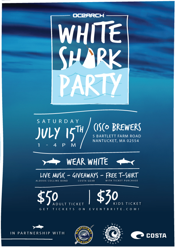 White Shark Party, Nantucket. - print & social marketing materials.
