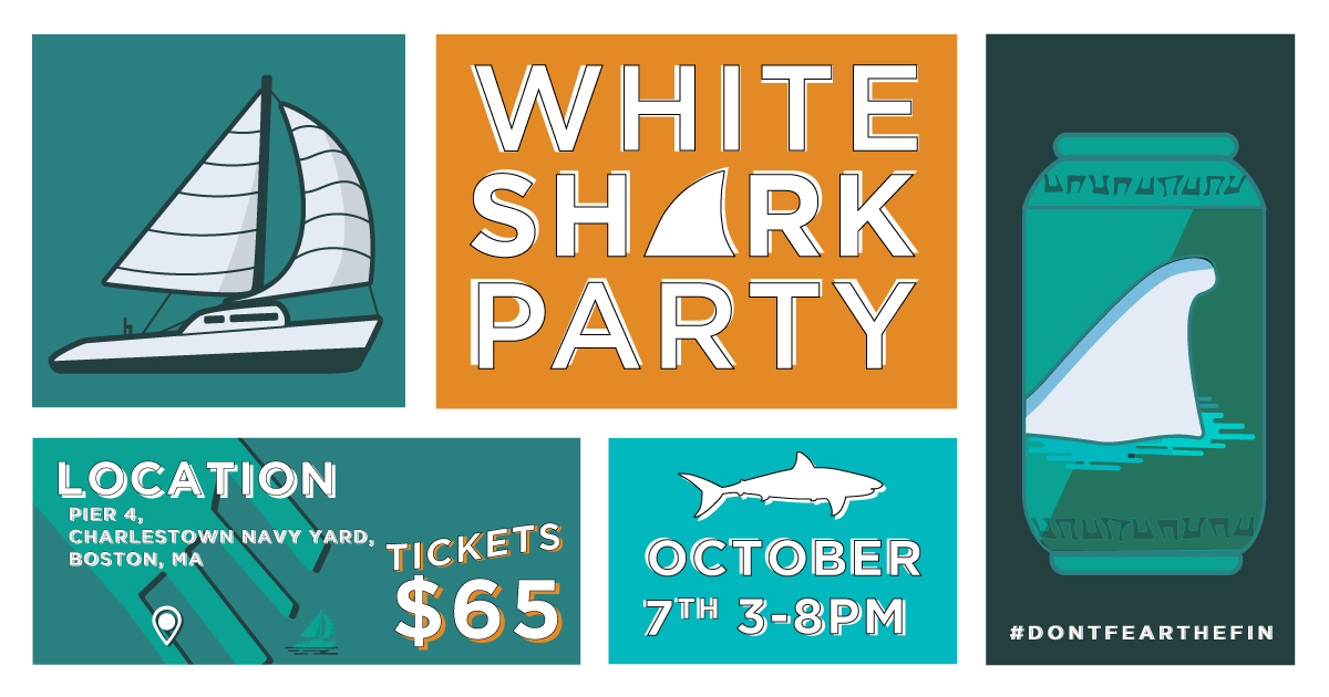 White Shark Party: Boston - print & social marketing materials