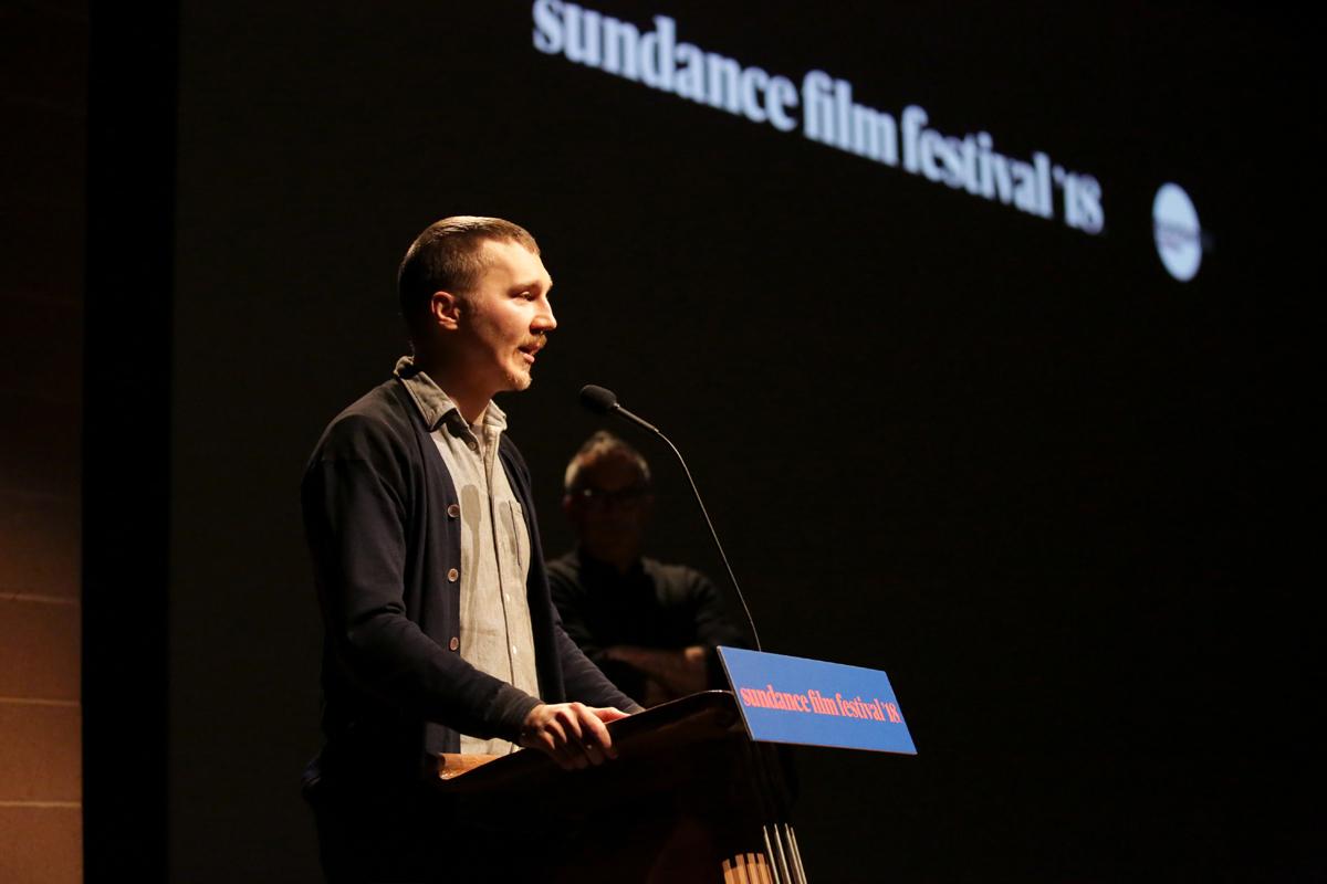 Director Paul Dano introduces the 'Wildlife' premiere.   Photographer: Jen Fairchild