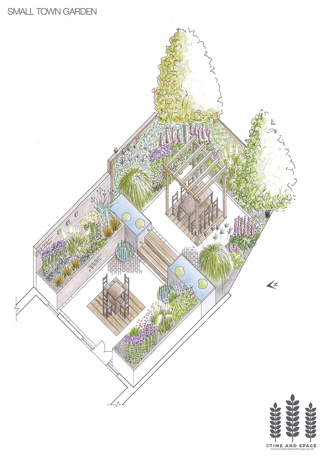 Small town garden axonometric drawing