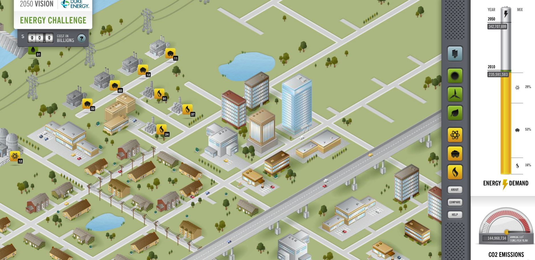 1.) Duke Energy's 2050 Energy Challenge - Sort of an extremely basic city-building game that focuses just on the energy demands. Aesthetically like SimCity, but much less control. Still, it has lots of options, which makes it fun.