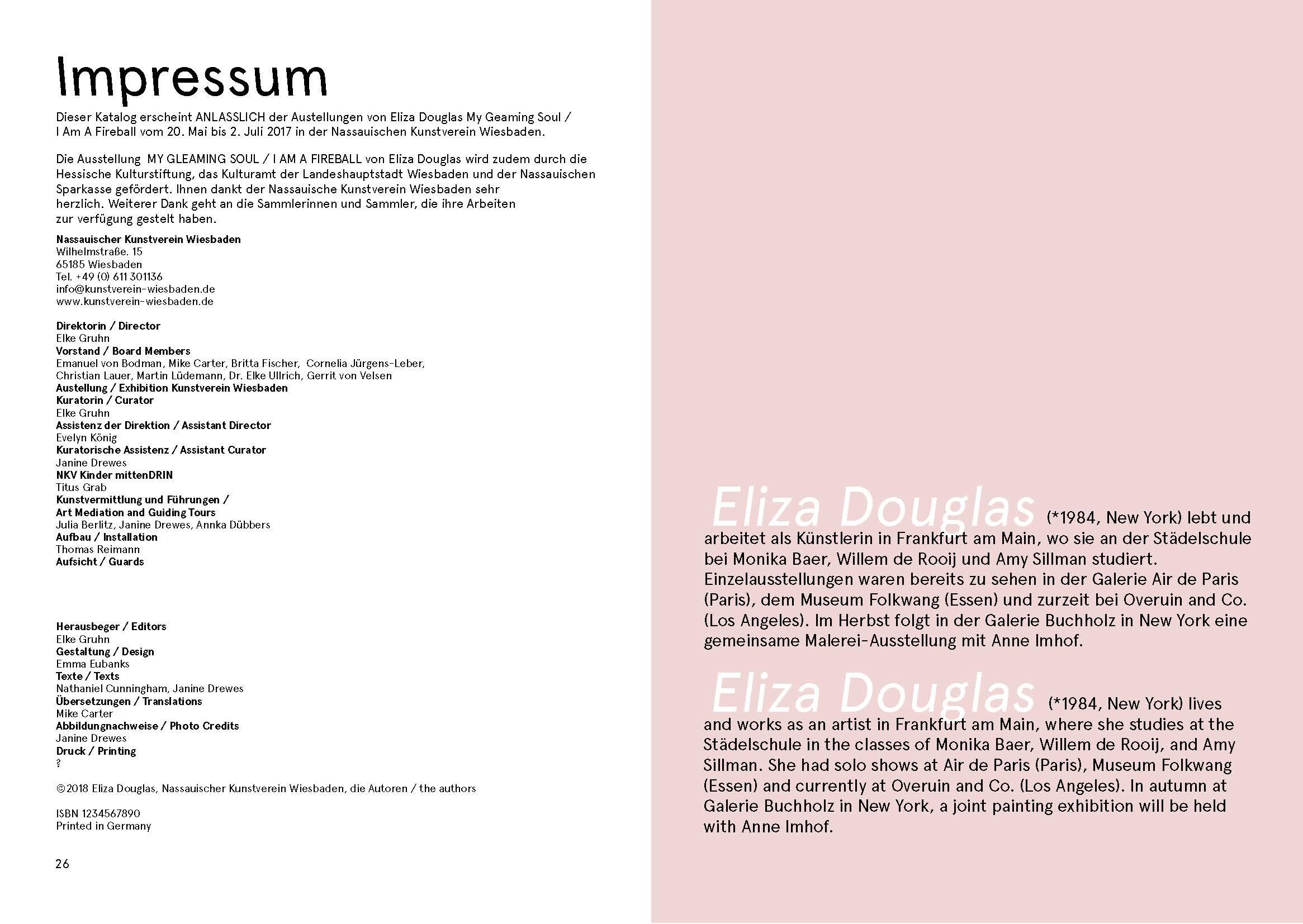 Eliza Douglas Exhibition Publication Impressum