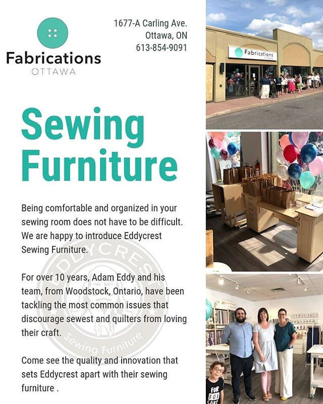 Stop in to say hi to our friends at Fabrications Ottawa. Eli is there helping to celebrate their grand opening of the new location! . . . . . . . . . #fabricationsottawa #eddycrestfurniture #eddycrest #sewingfurniture #oxfordproud