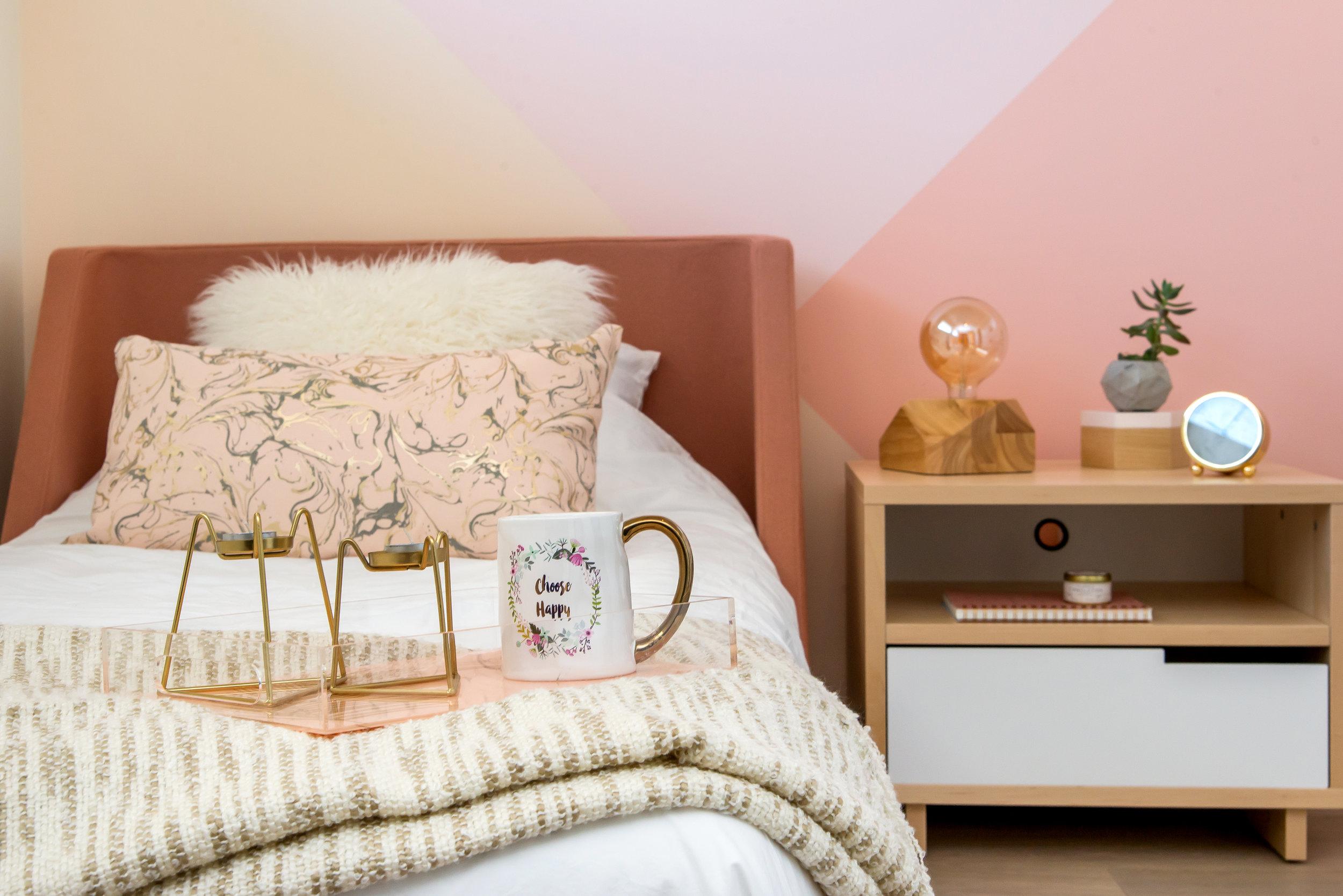 The colour palette: - Benjamin MooreBridal Pink 2013-70Pink Harmony 2013-60Springtime Peach 2014-50