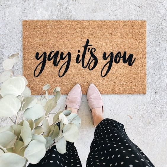 There's nothing like a new mat to freshen up the entry. Get this cute one from Etsy!  If you're feeling crafty, make your own! Hit up Michale's for a plain mat and some black acrylic paint, print your stencil and voila - you've got yourself a one-of-a-kind entryway feature.