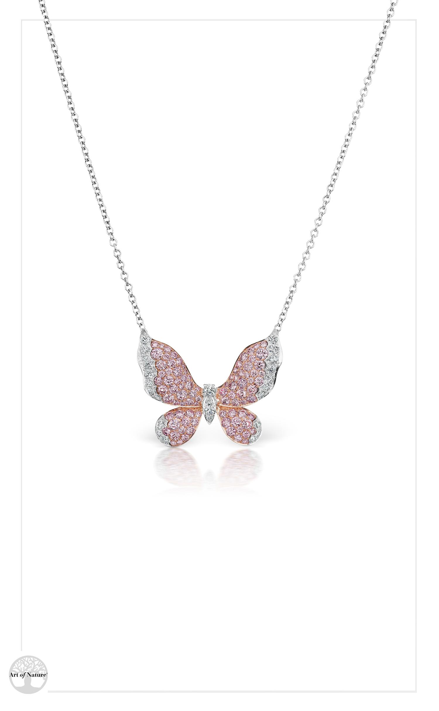 Scott West - Pink butterfly pendant