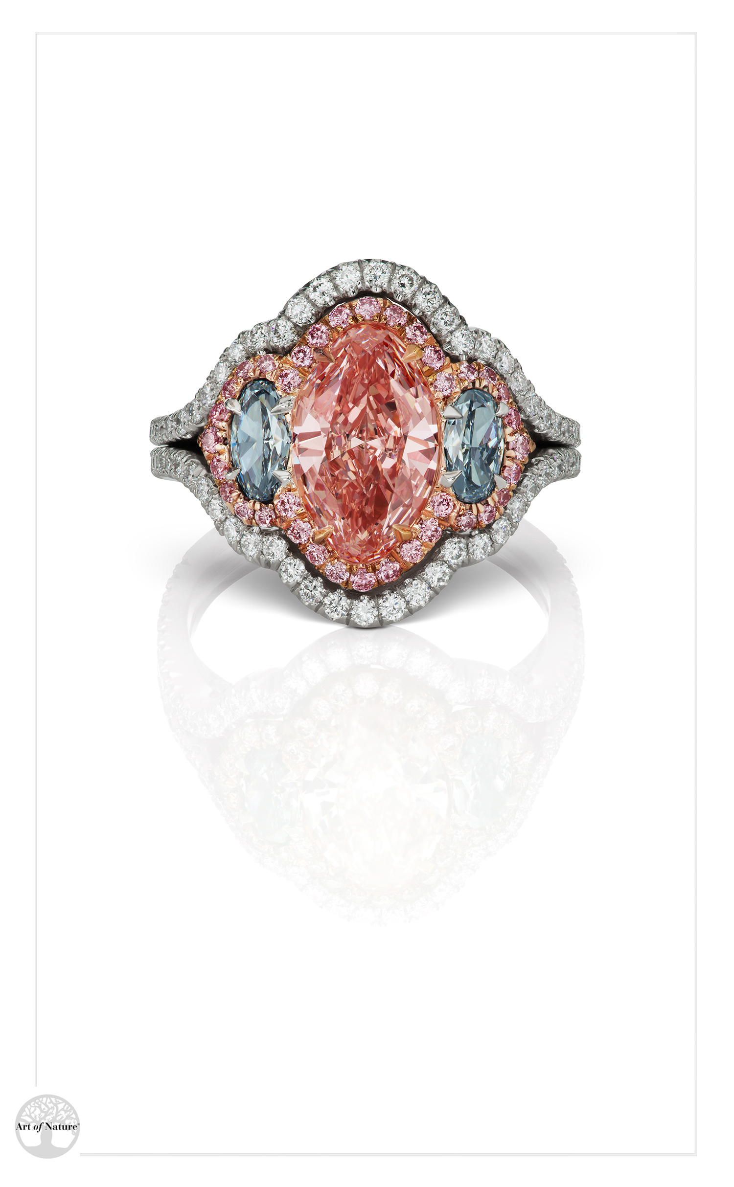 Scott West - Pink halo oval ring