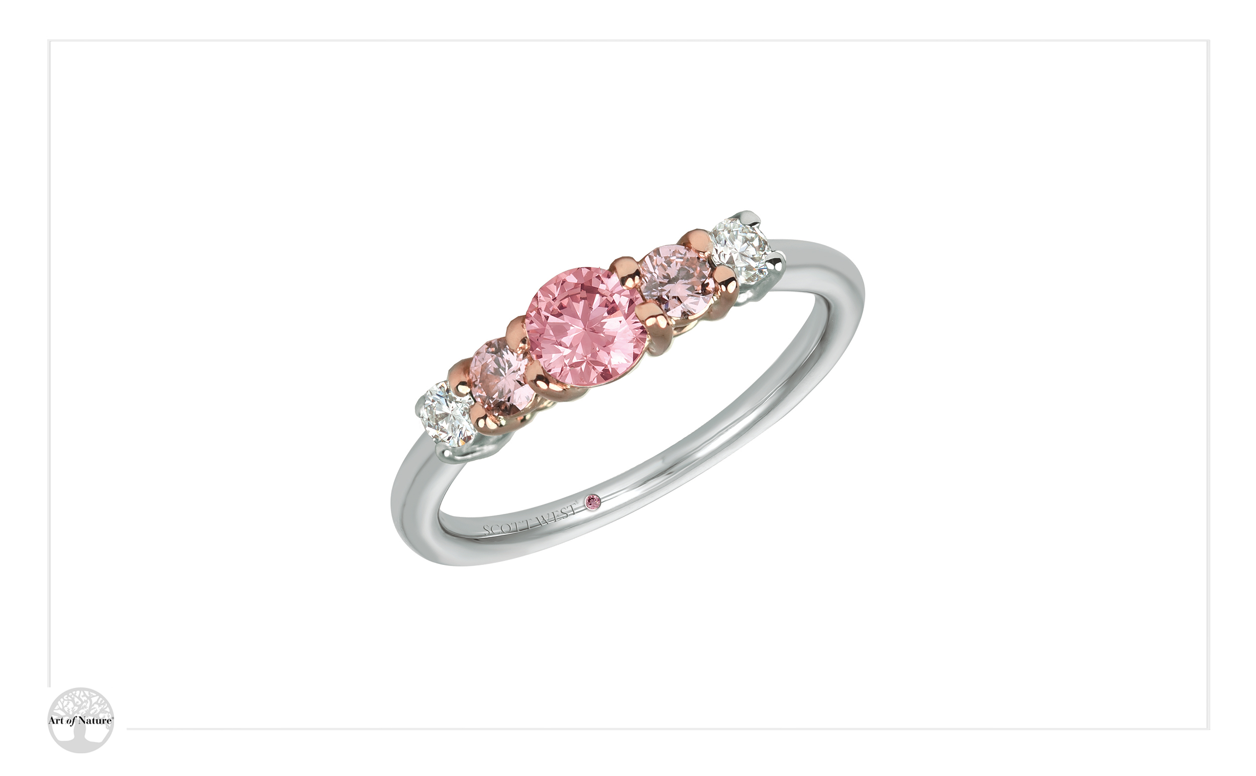Scott West - Bridal three stone pink ring