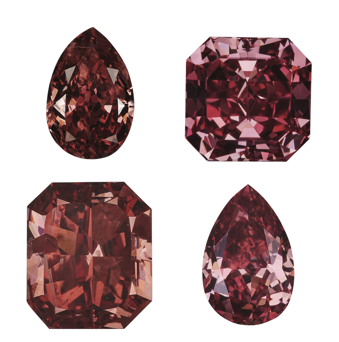 Natural red diamonds shown loose