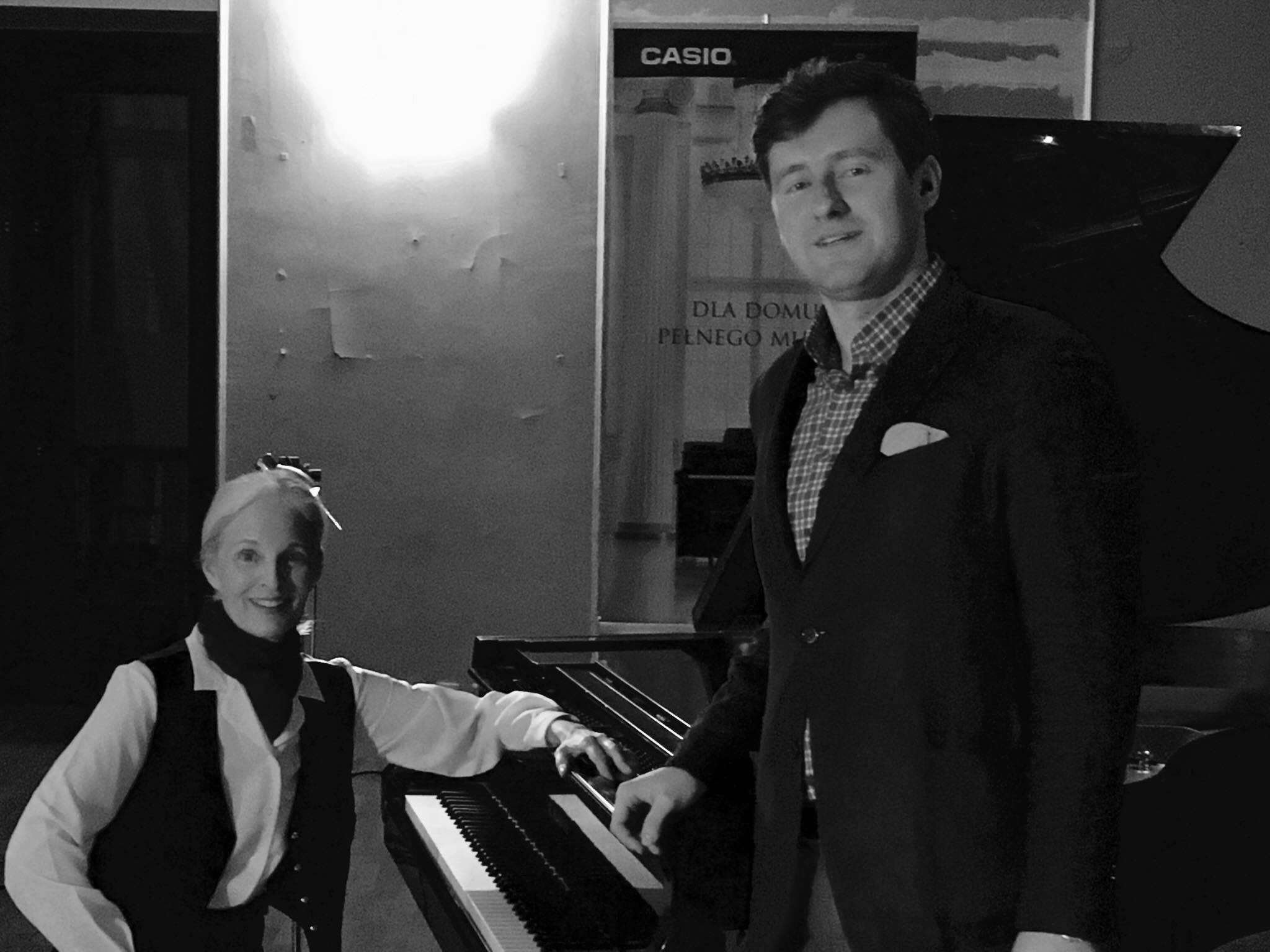 Pam as Chopin/Sand after one-woman show with Polish violinist Mareusz Strzelecki, February 23, 2017.