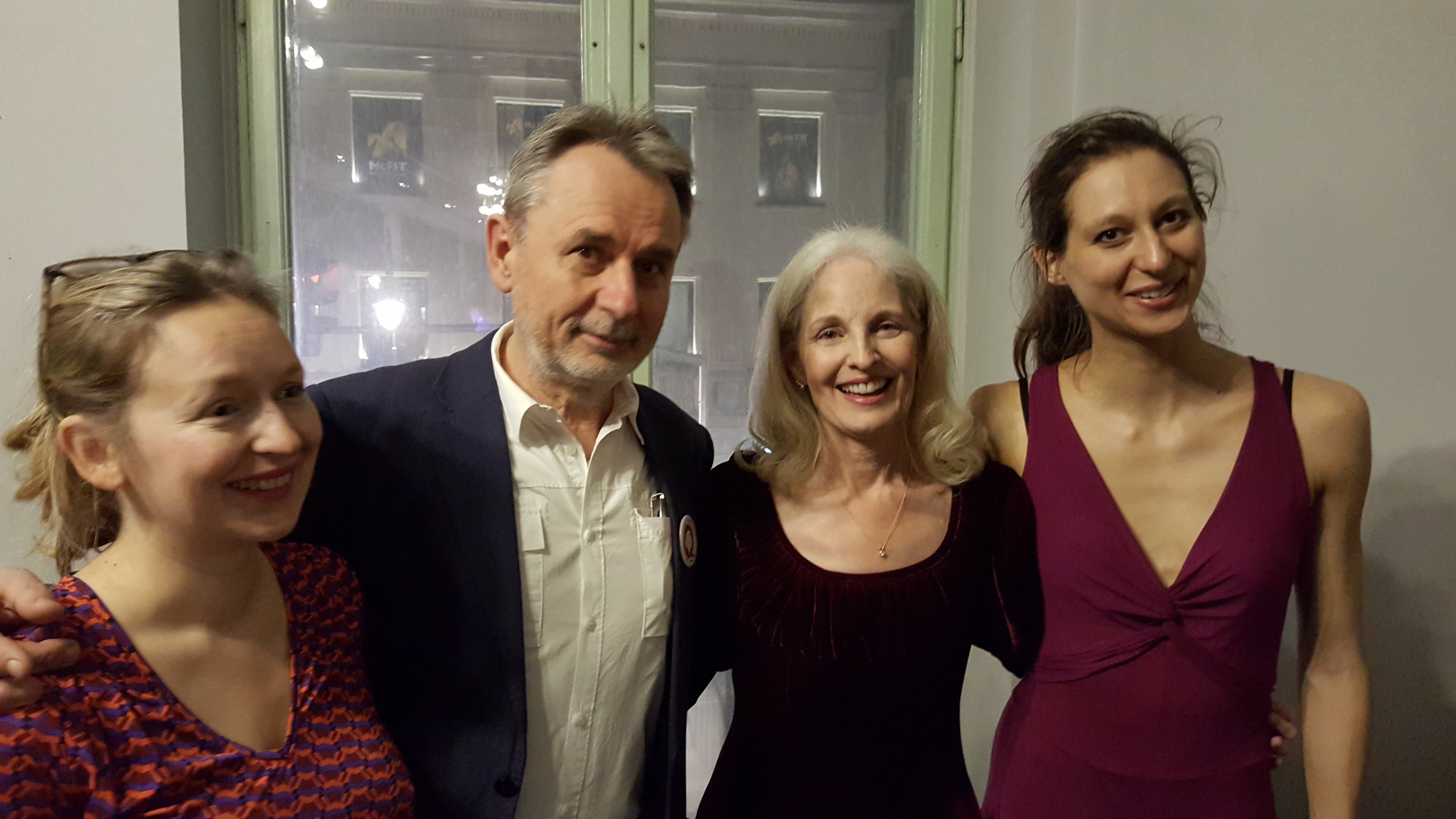 Pam and dancers Ksenia Opria and Hania Jurczak with host and founder of this festival, Jarek Cholodecki, after successful collaboration to music of Chopin and Gershwin, February 25, 2017
