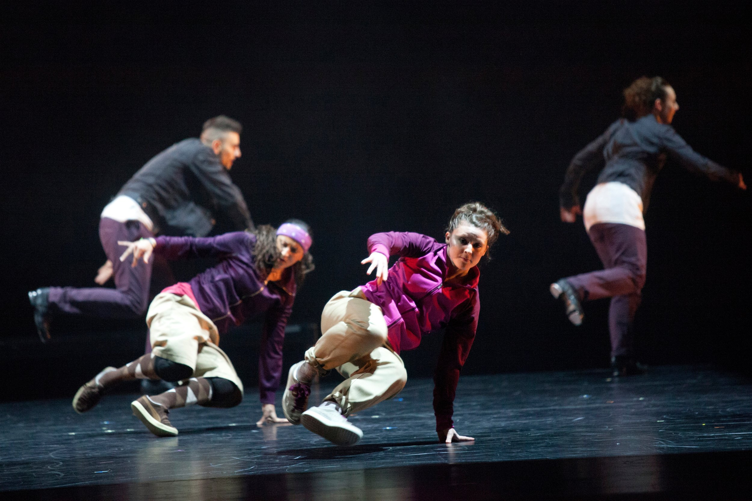 - Grounded Movements' first formal outing in 2013 at Sadlers' Wells Breakin' Convention with a piece titled Alien States. It explored the context of groups and cliques using the contrast of forms between Tap, Breaking and Original Jazz as the focus of the physical language