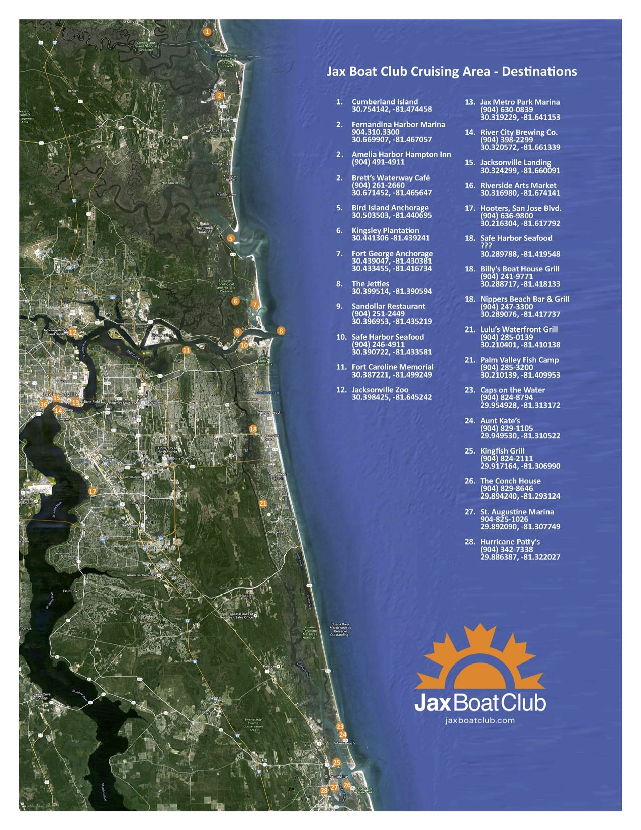 Jacksonville Boat Club Cruising Area Chart