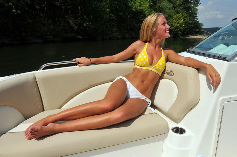 Sunbathing in boat