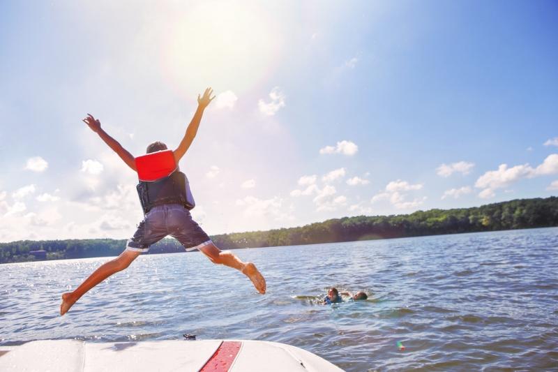 Kids having fun on a boat day