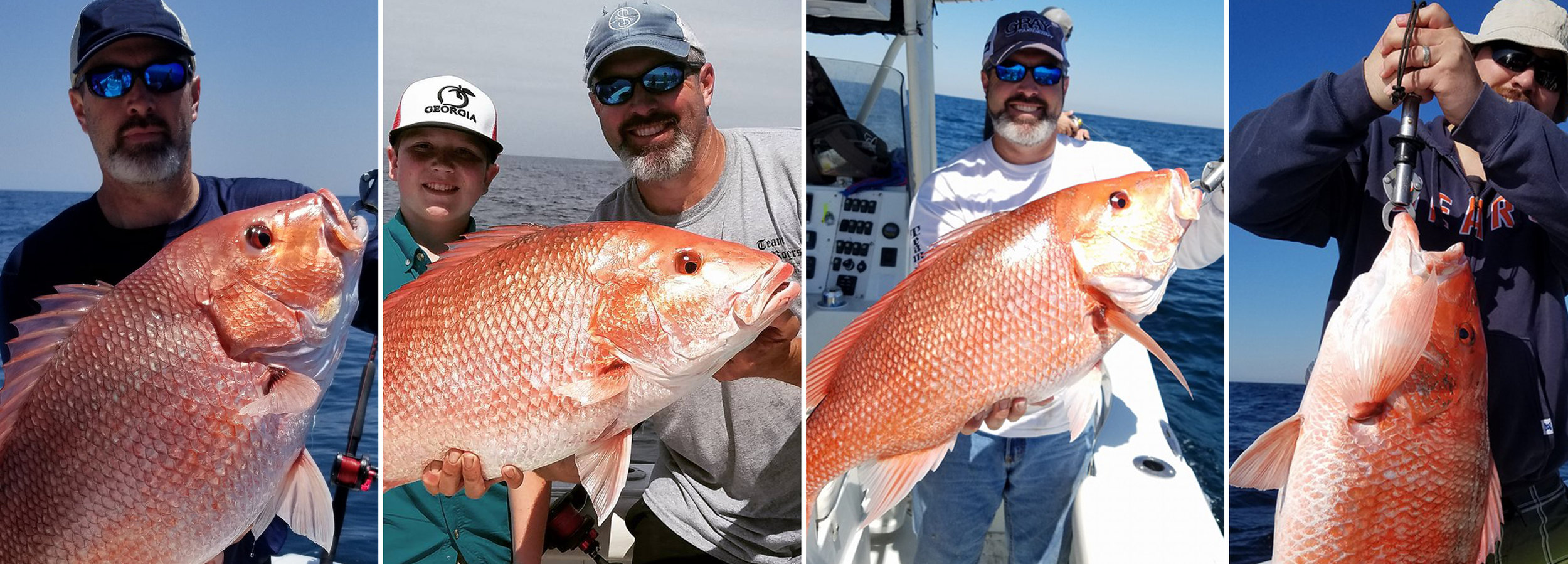 Captain Chad Starling with 4 big red snappers