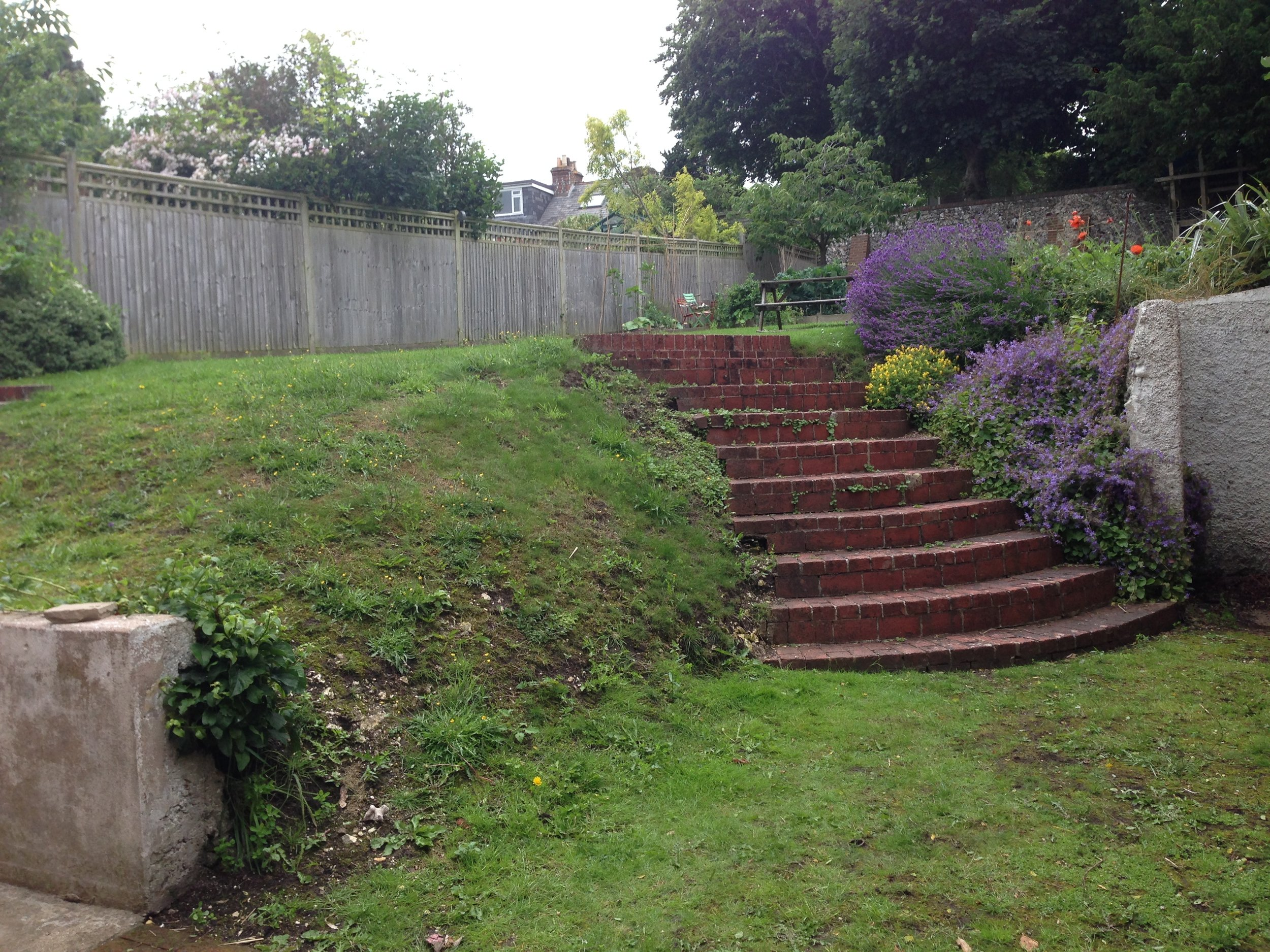 Before - a very muddy slope and garden