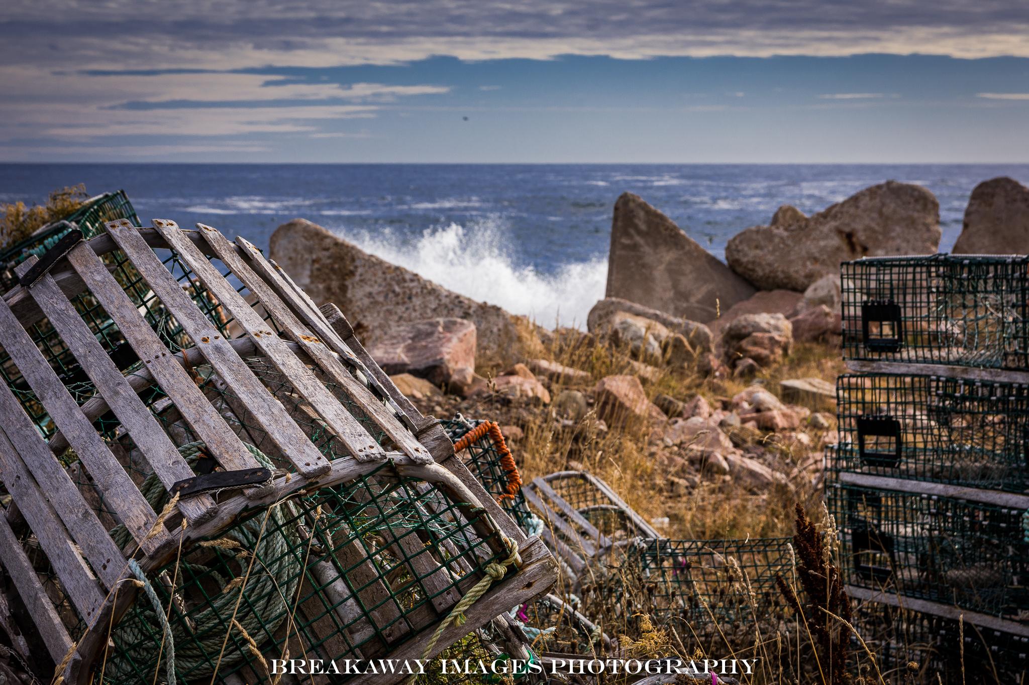 Lobster Traps and Surf, Neil's Harbor, Nova Scotia