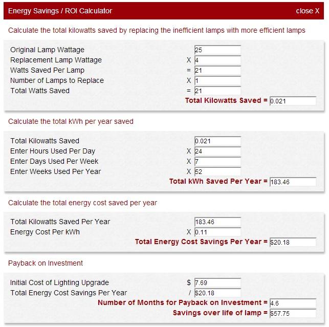 1000Bulbs.com Energy Savings Calculator Extended