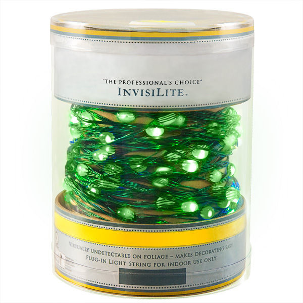 InvisiLite green led ultra thin wire lights battery operated