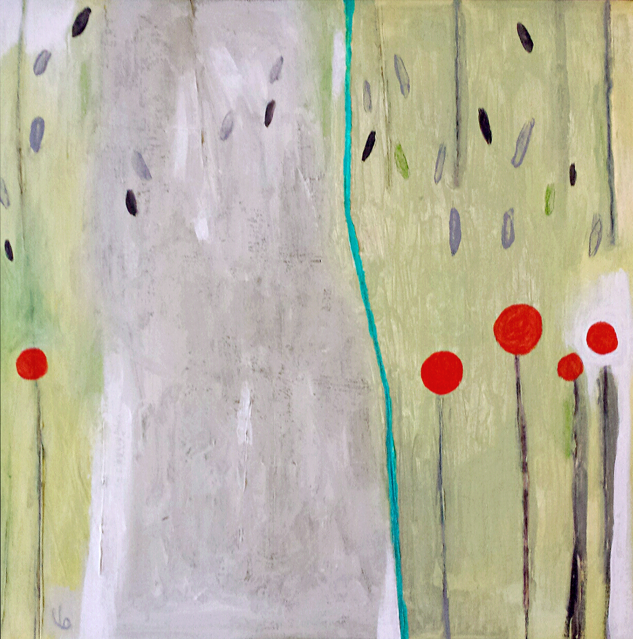 Lisa Goedert, Five Poppies and a Large Tree21x21.jpg
