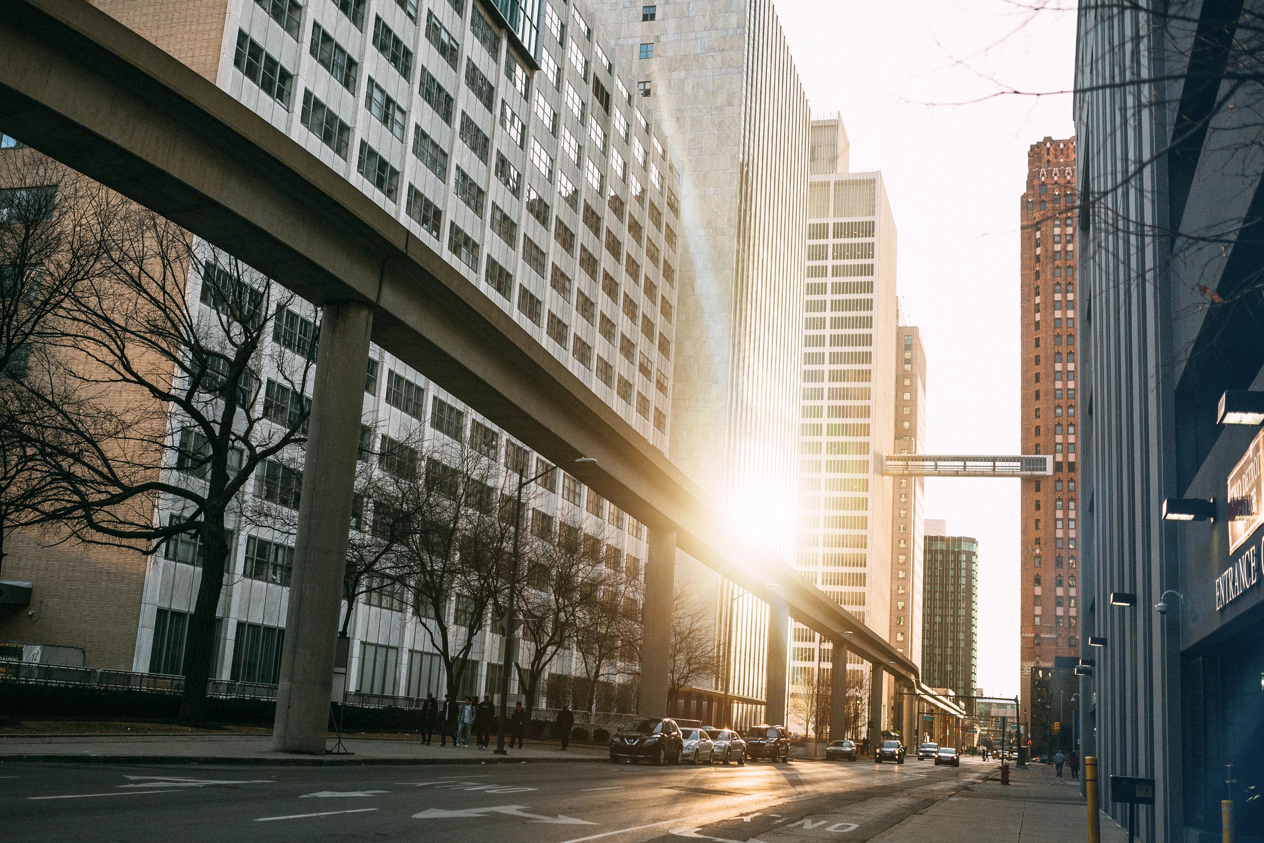 Sunset Downtown Detroit
